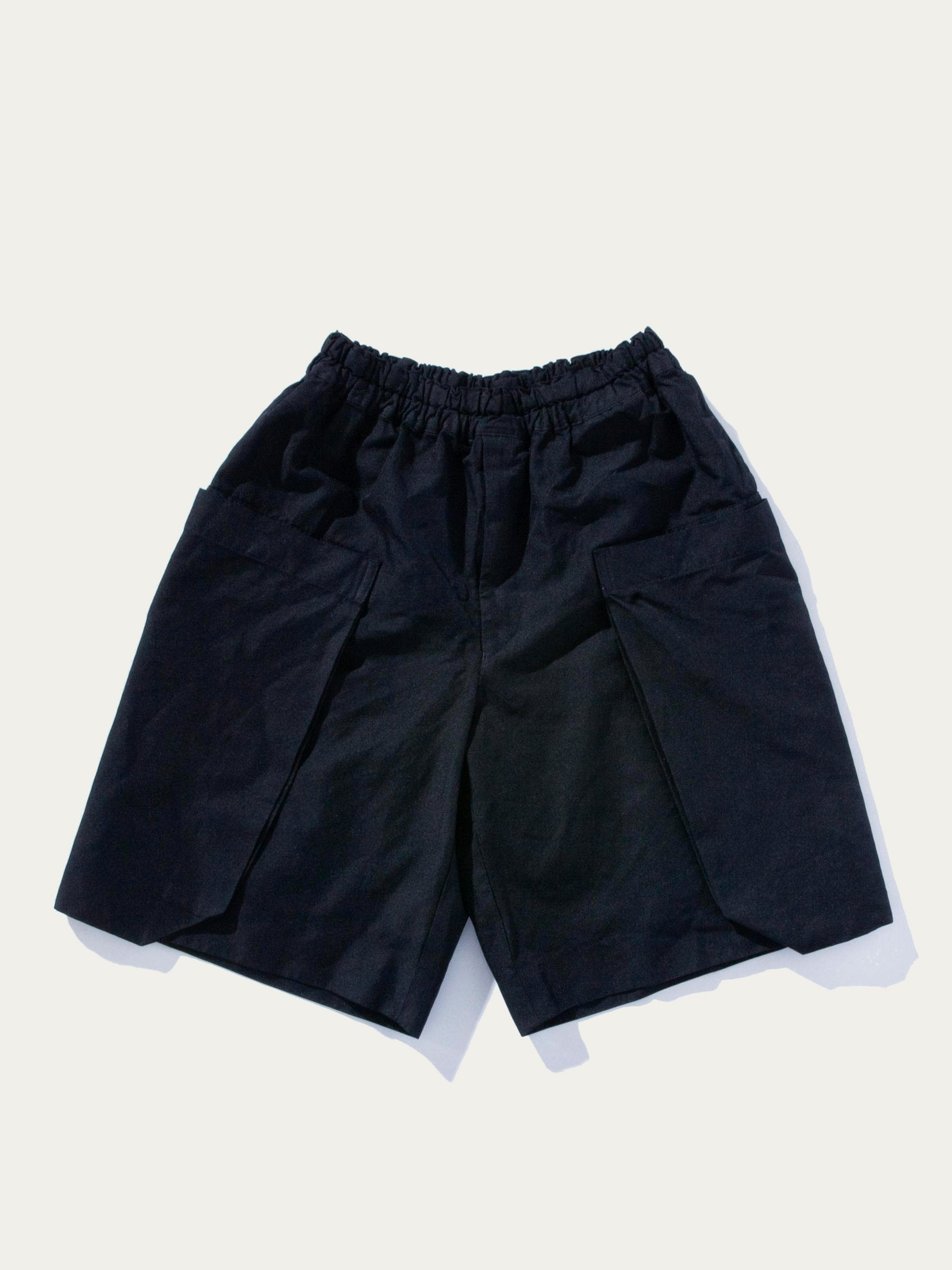 Navy Boiled Poly Cargo Shorts 1
