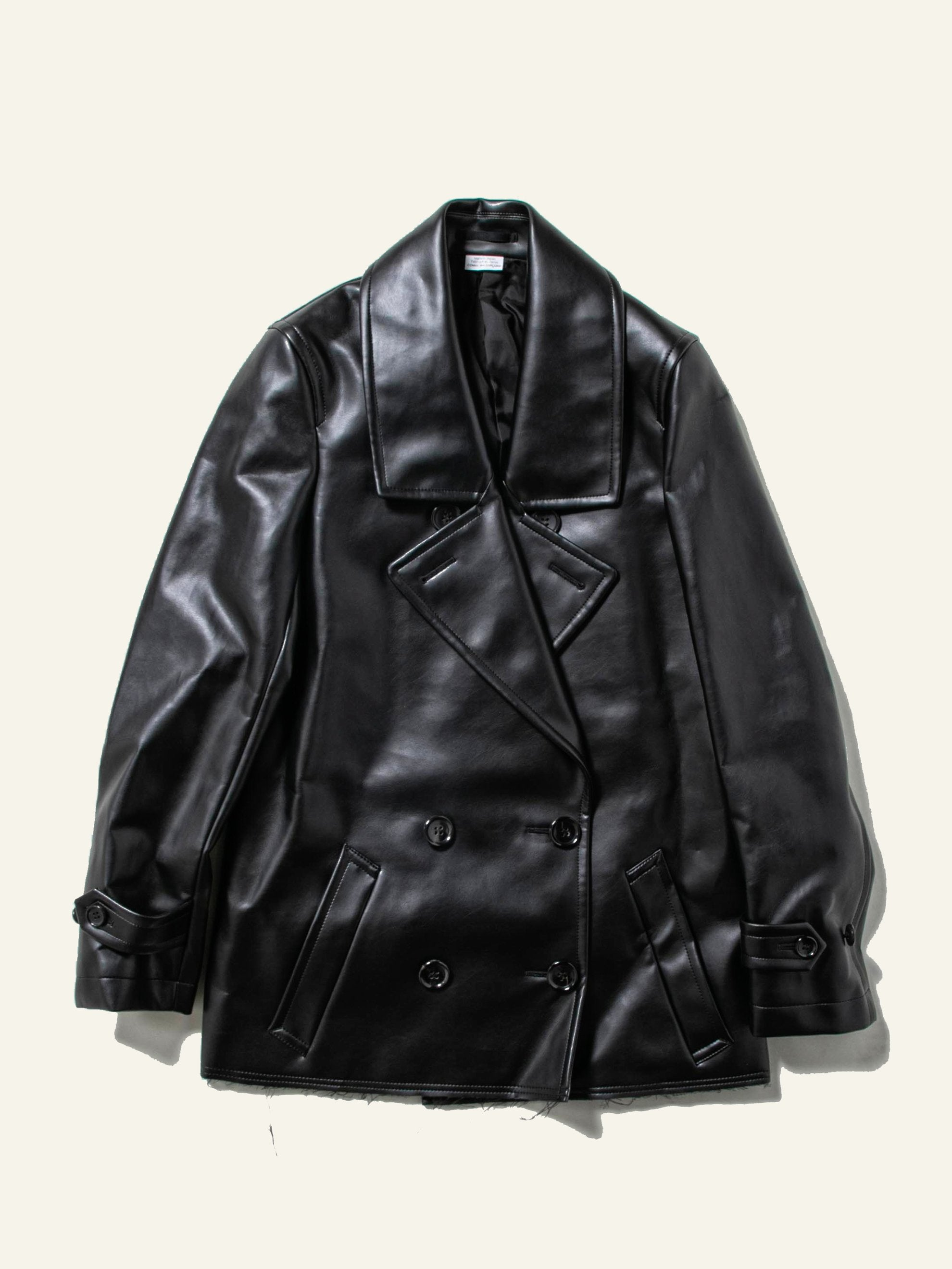 Black Double Breast Synth Leather Coat 1