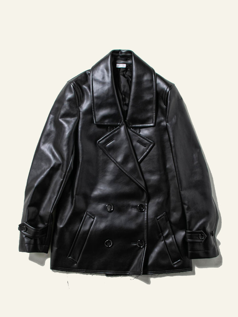 Double Breast Synth Leather Coat