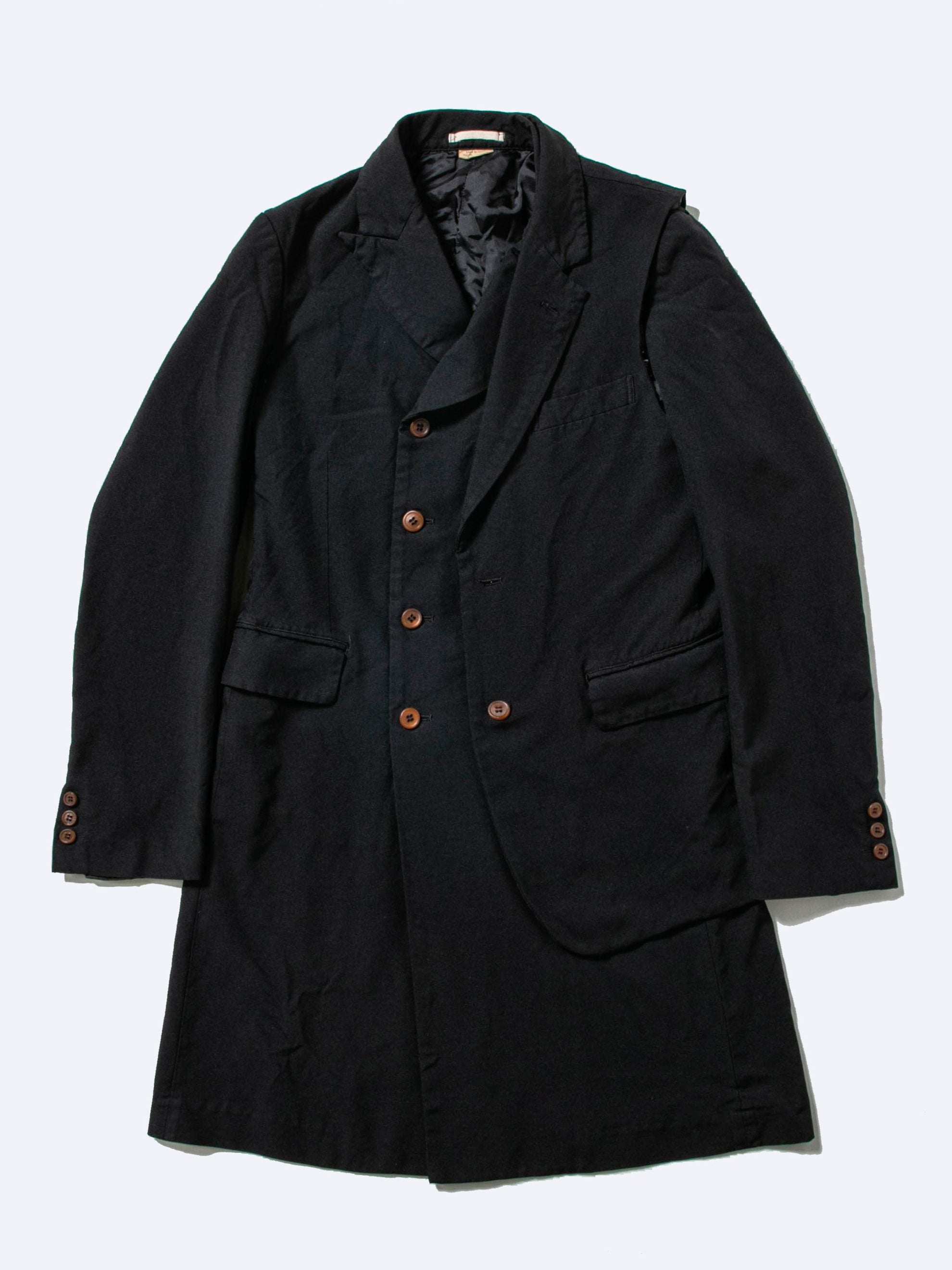 Black Reconstructed Double Breast Blazer Coat 1