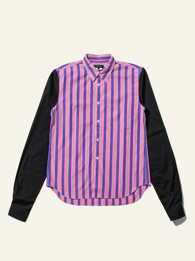 Pink Stripe Contrast Sleeve Shirt