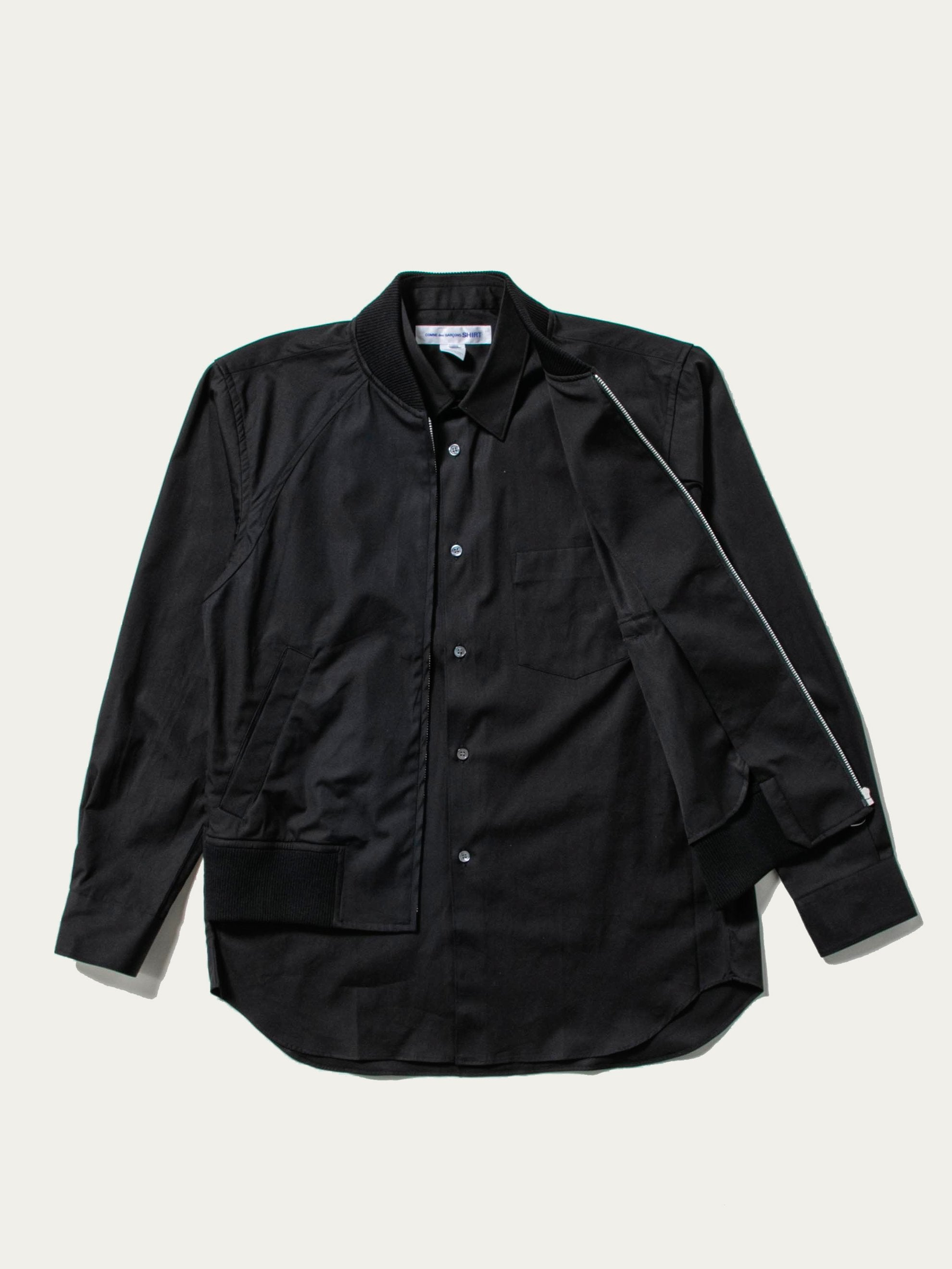 Black Layered Hybrid Blouson Shirt 1