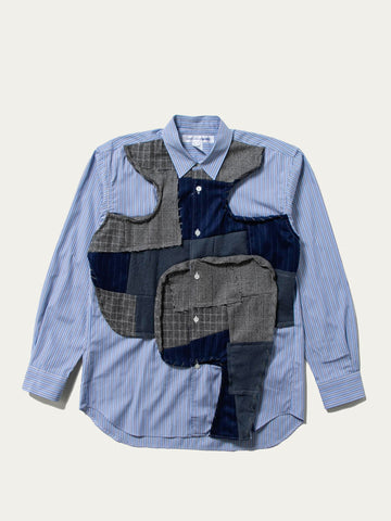 Reconstructed Front Patch Paneled Stripe Shirt