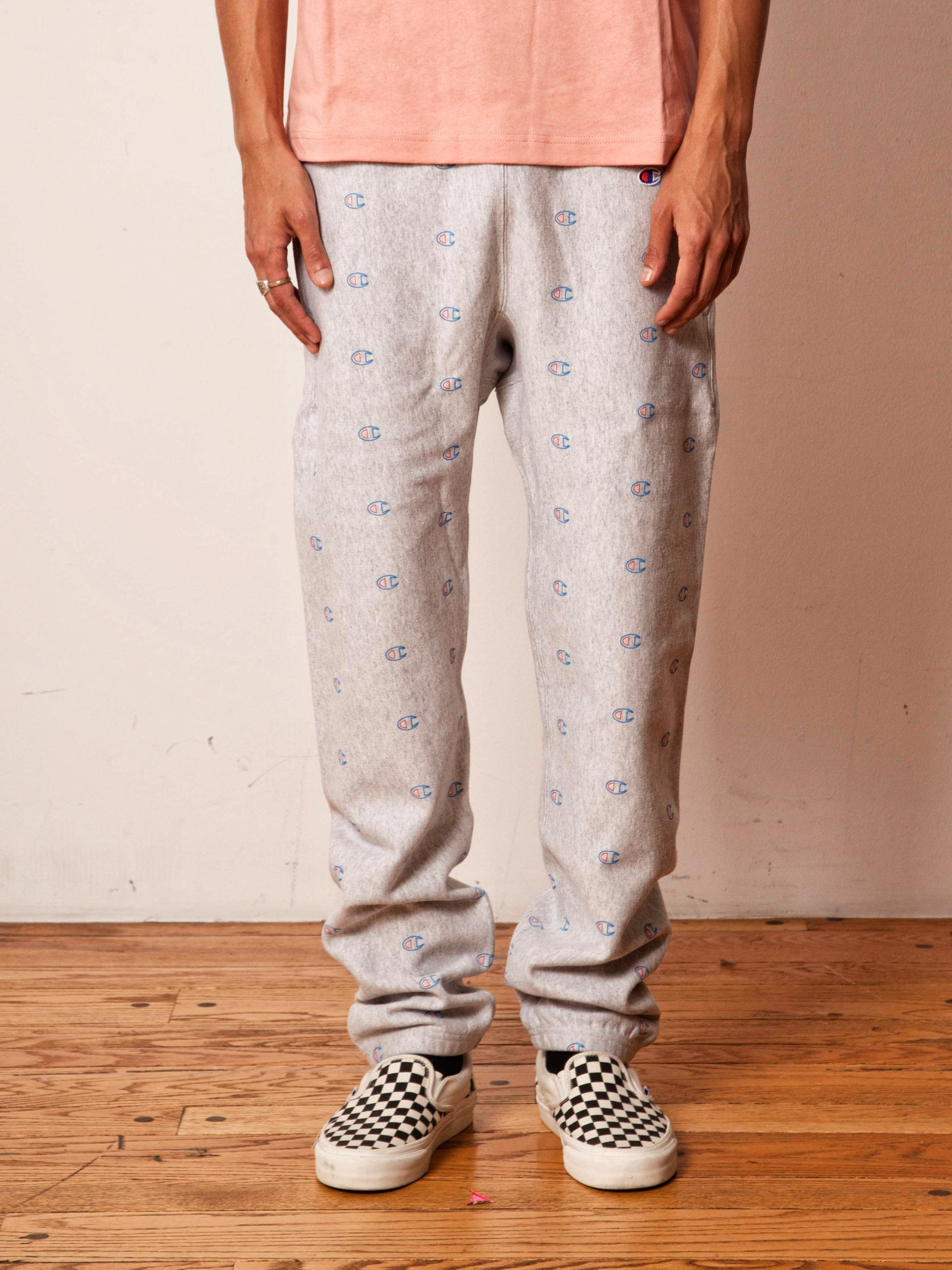 Grey All Over Print Sweatpants 2