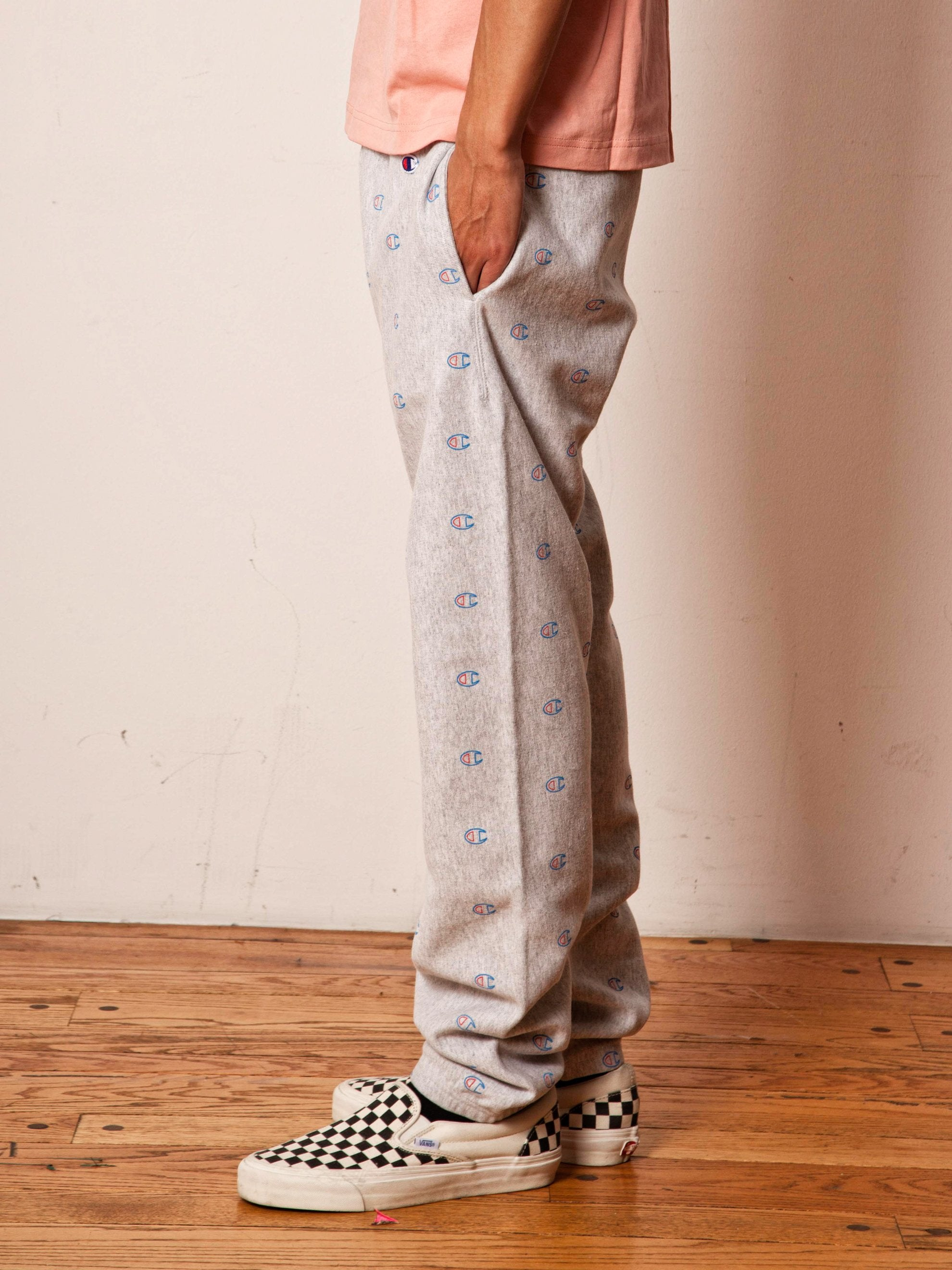 Grey All Over Print Sweatpants 4
