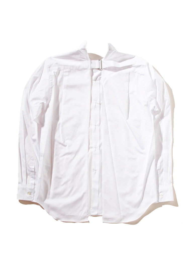 White Slit Back Buckle Shirt 724223602889