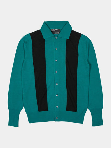 Contrast Panel Knit Button Up