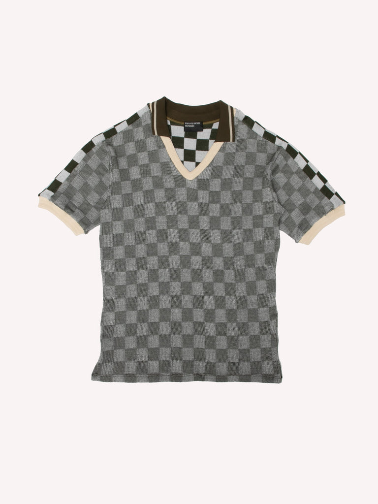 Checkerboard V-Neck Polo