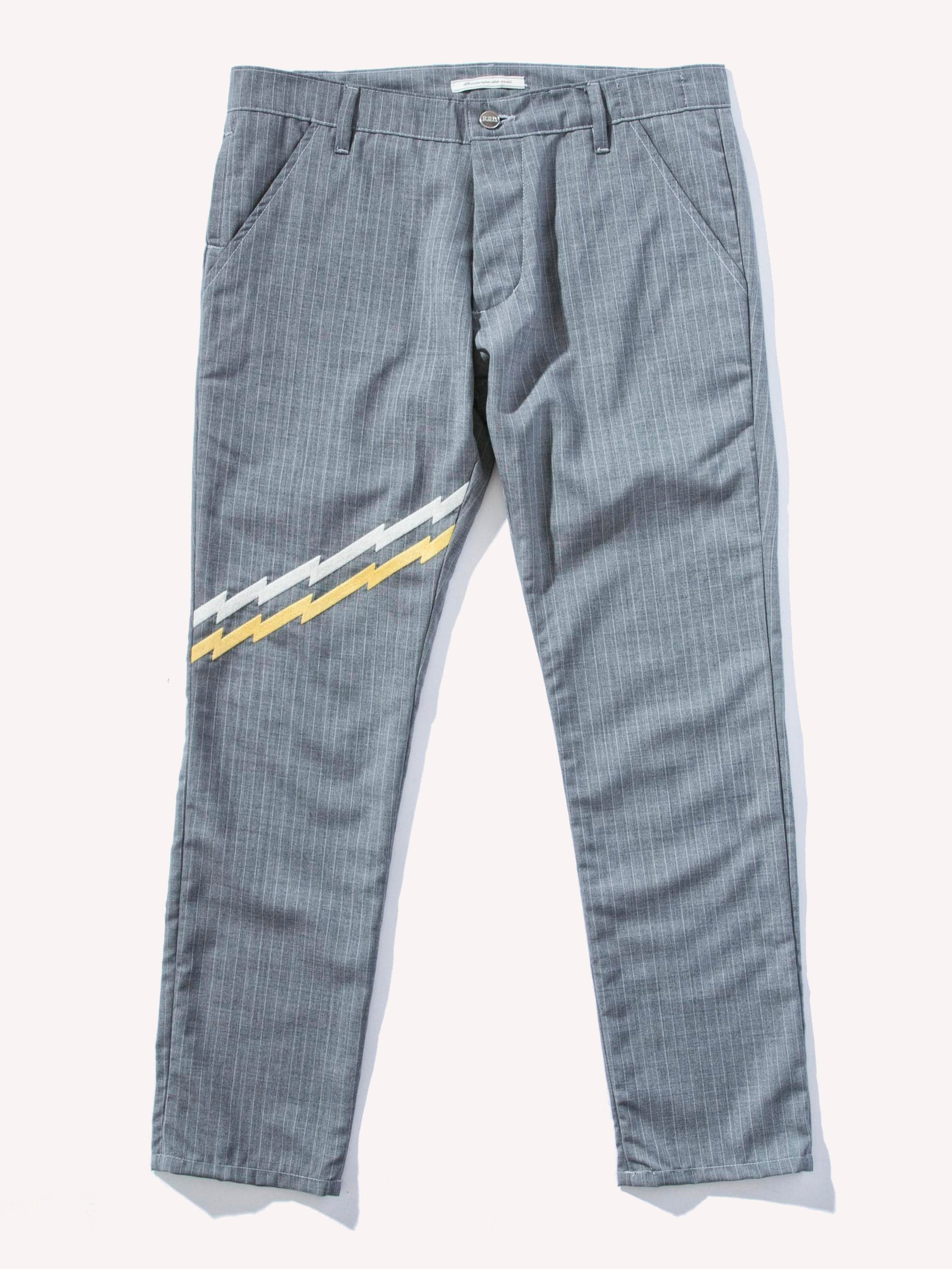 Grey/Multi Zig-Zag Embroidery 5-Pocket Trousers 1