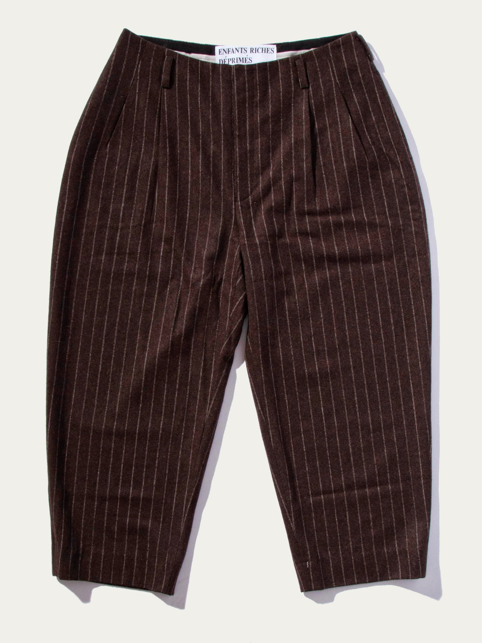 Chocolate Pinstripe Neue Welle Trousers 1