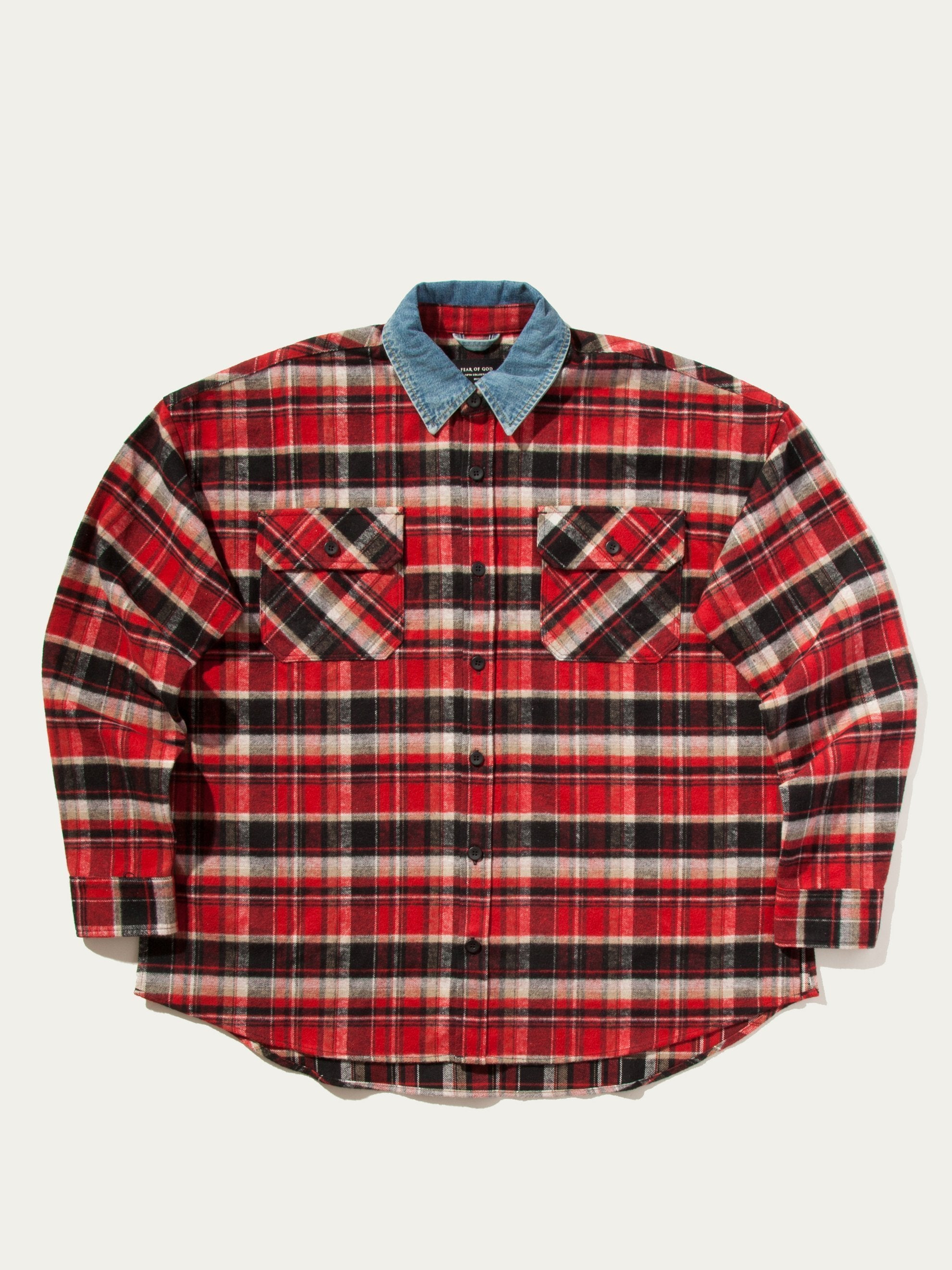 Red Plaid Denim Collared Flannel 7