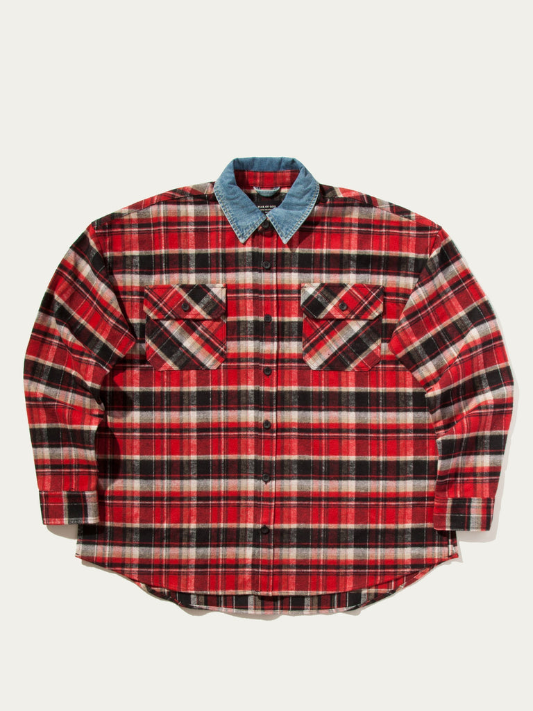 Red Plaid Denim Collared Flannel 713572113989709