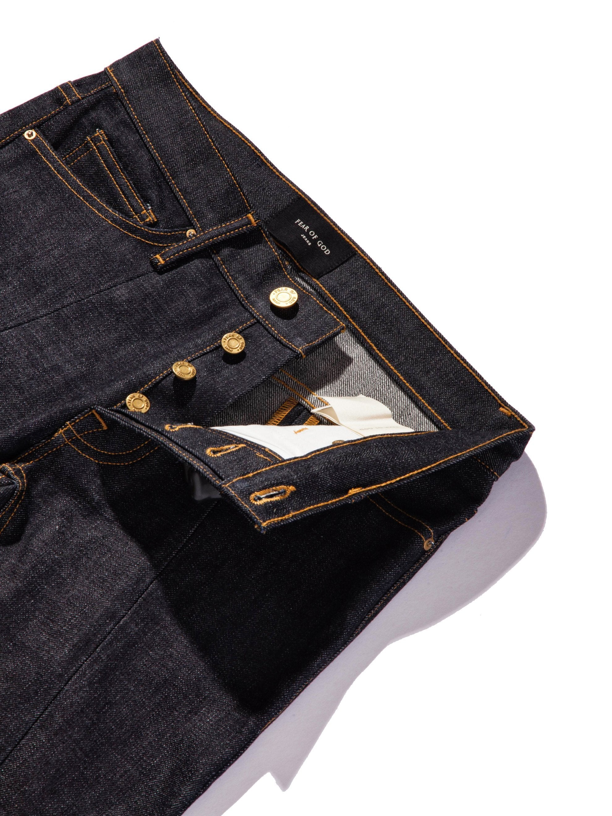 Raw Indigo Selvedge Paneled Denim Jean 9