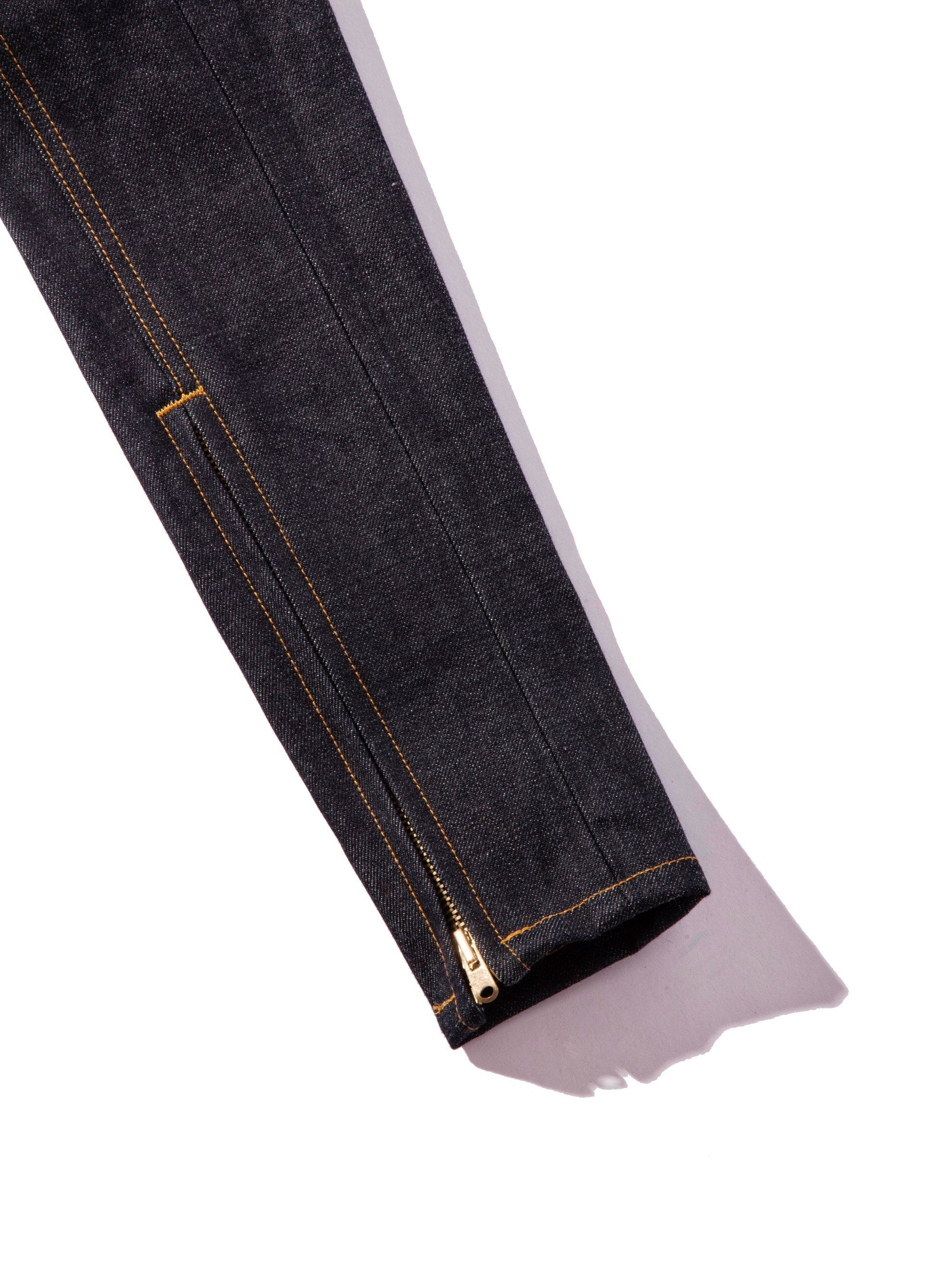 Raw Indigo Selvedge Paneled Denim Jean 10