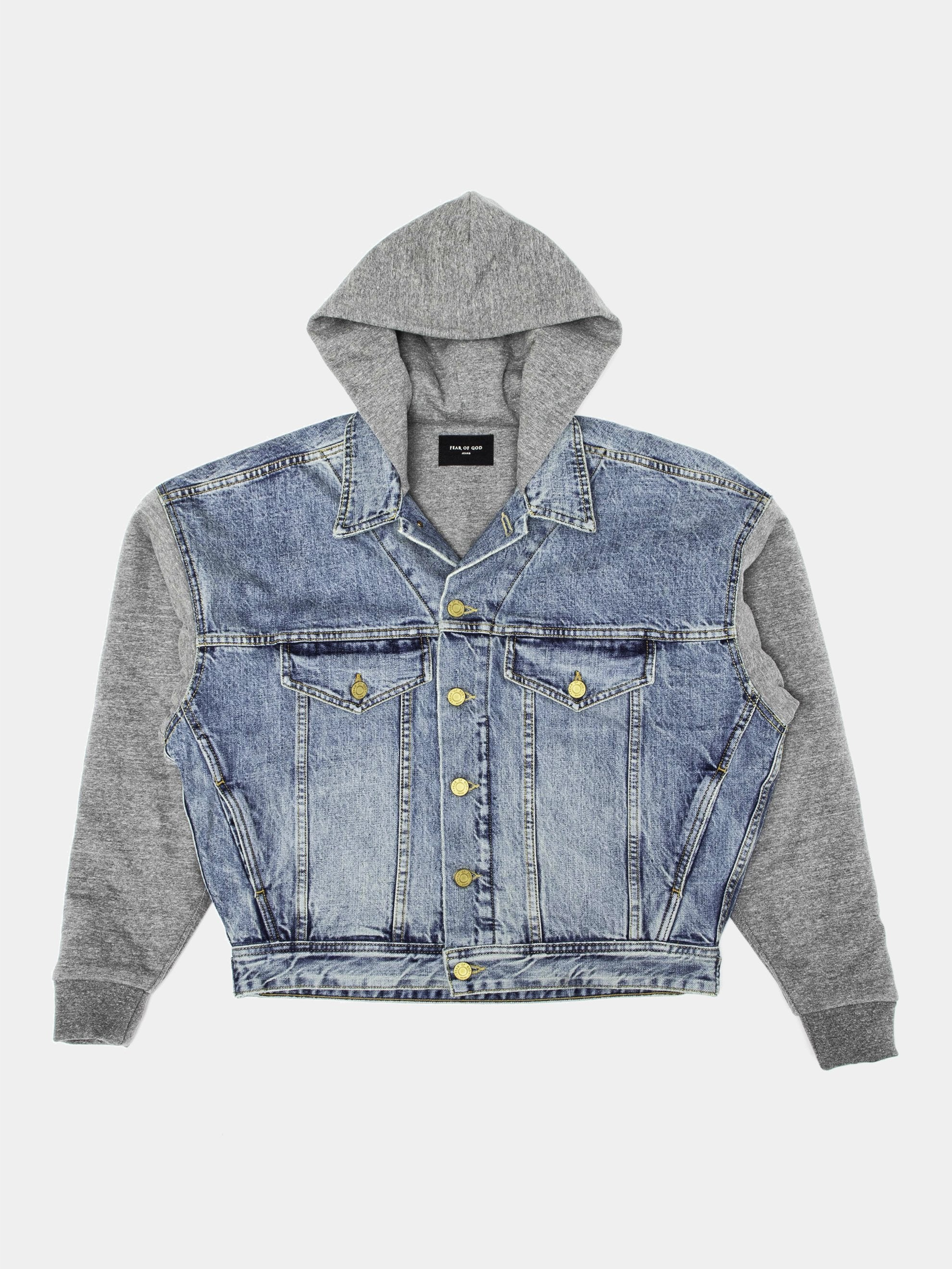 Selvedge Denim Trucker Jacket (French Terry Sleeves)
