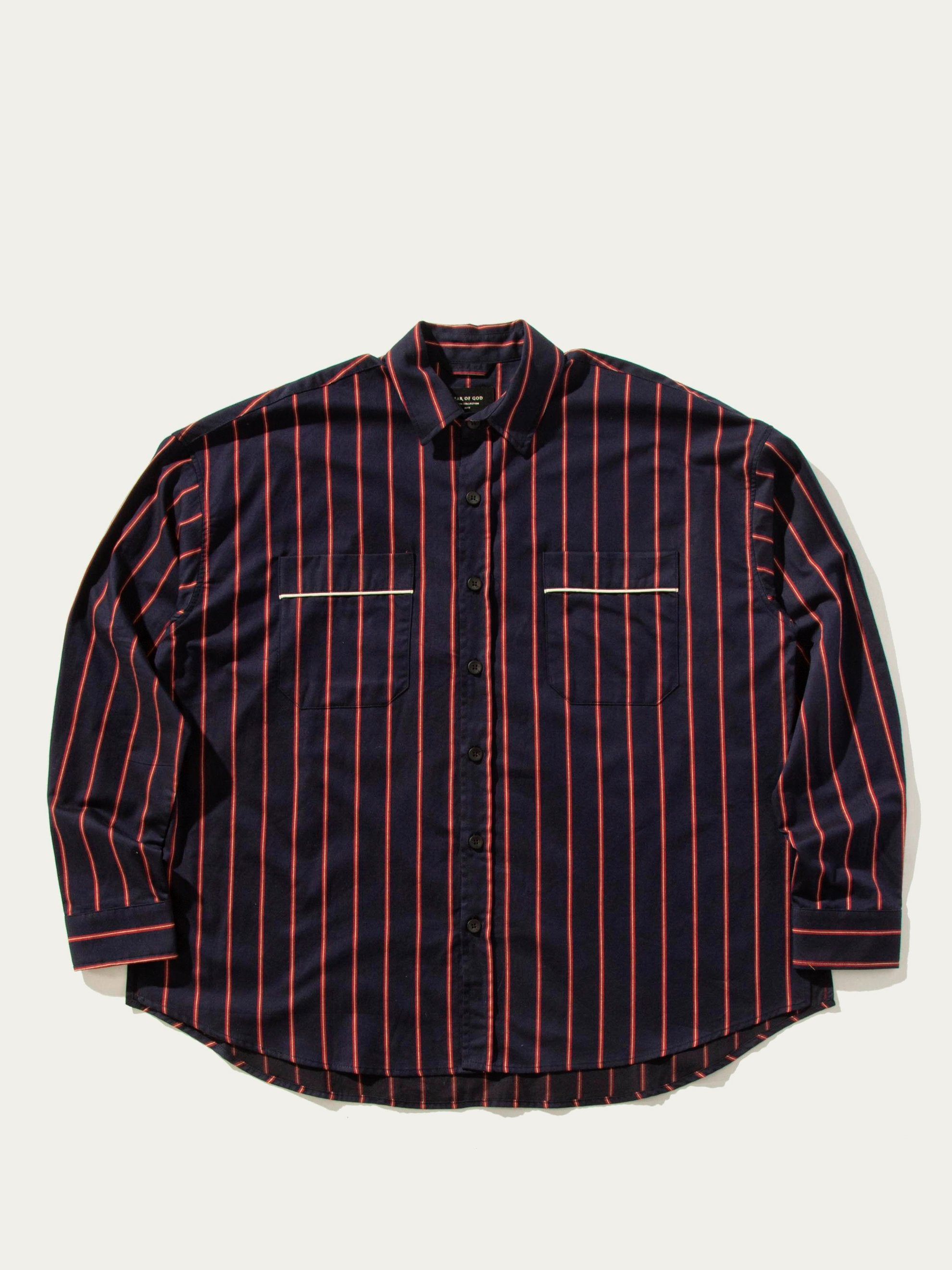 Red/Navy Stripe Piped Oversized Shirt 1