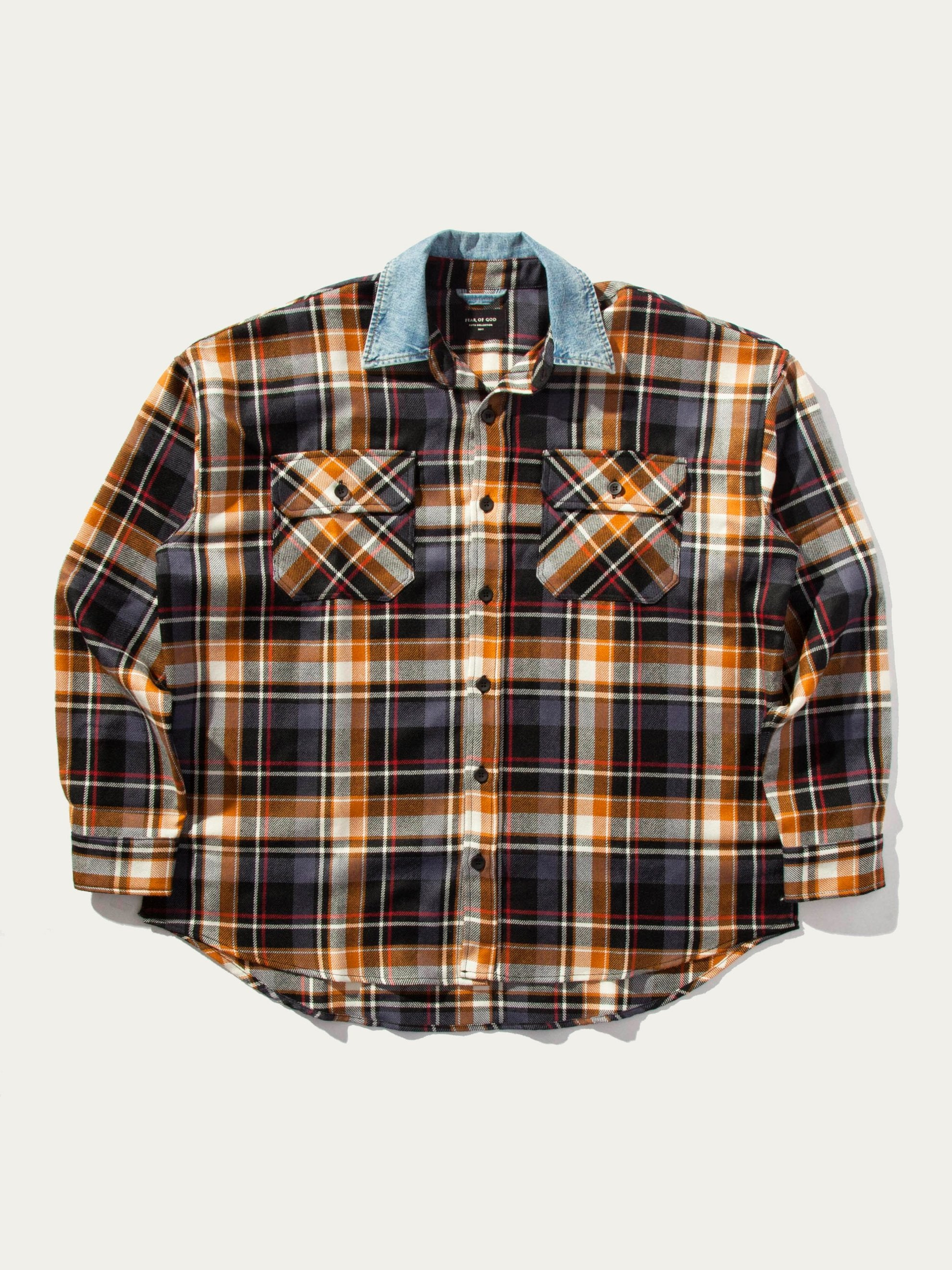 Red Plaid Denim Collared Flannel 1