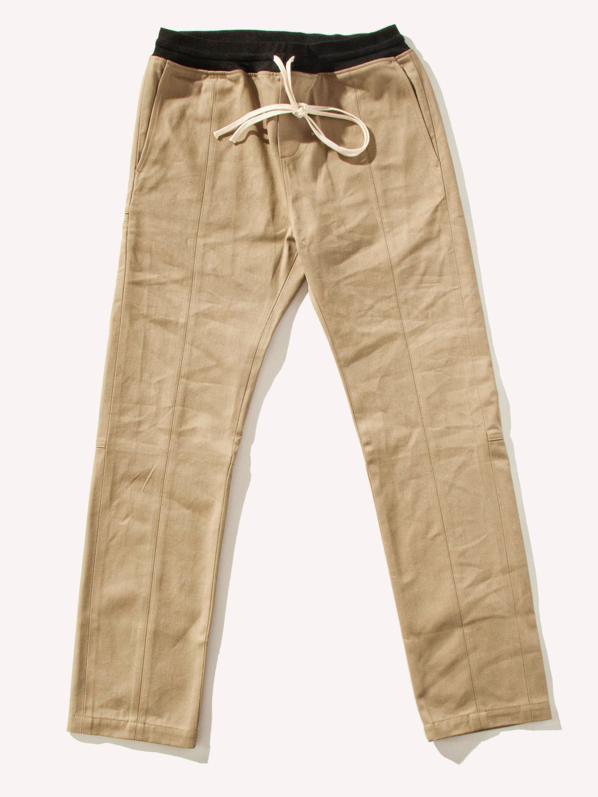 Khaki Selvedge Drawstring Chino Trouser 1