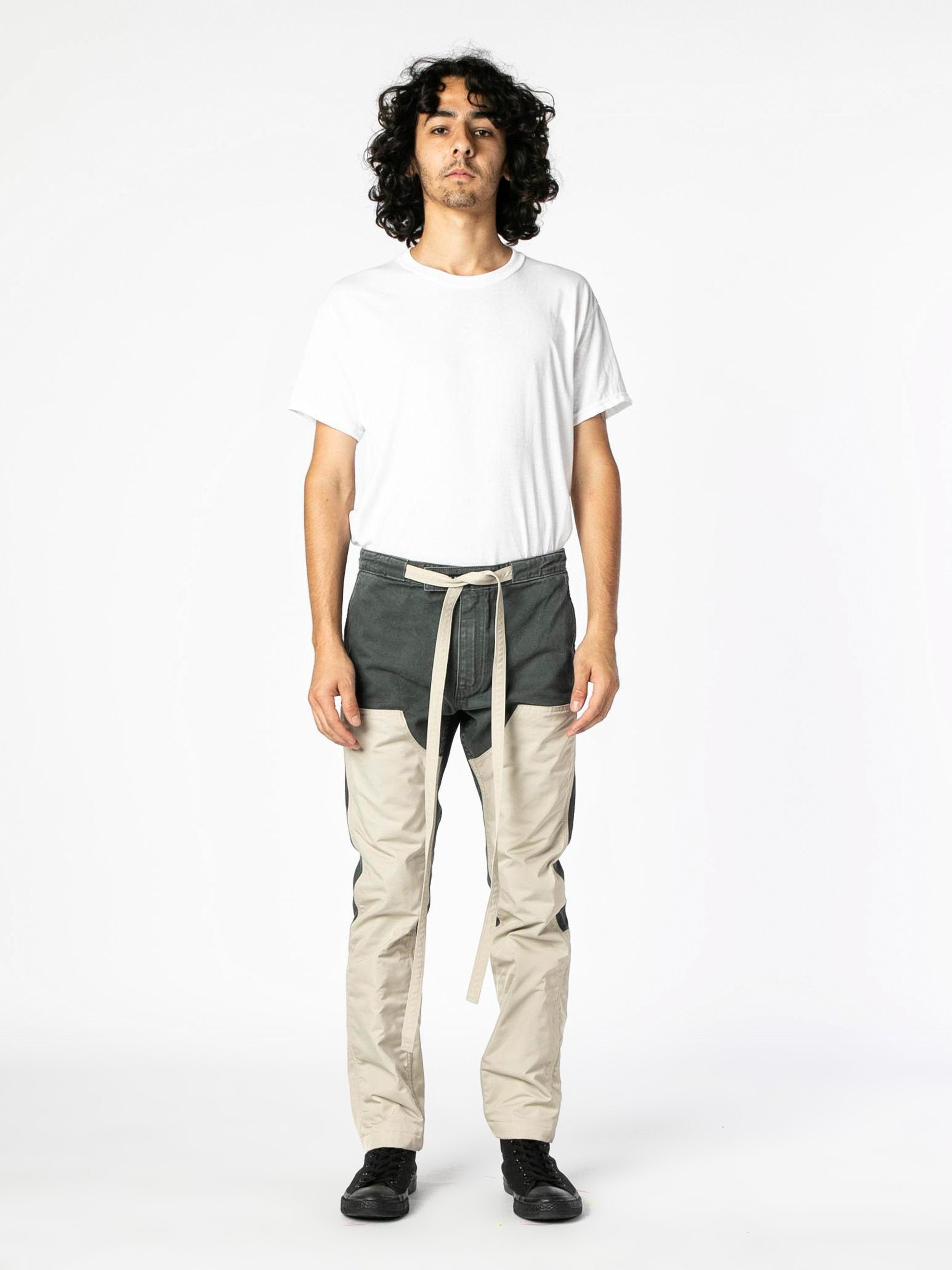 Seaweed / Bone Nylon Canvas Double Front Work Pant 2