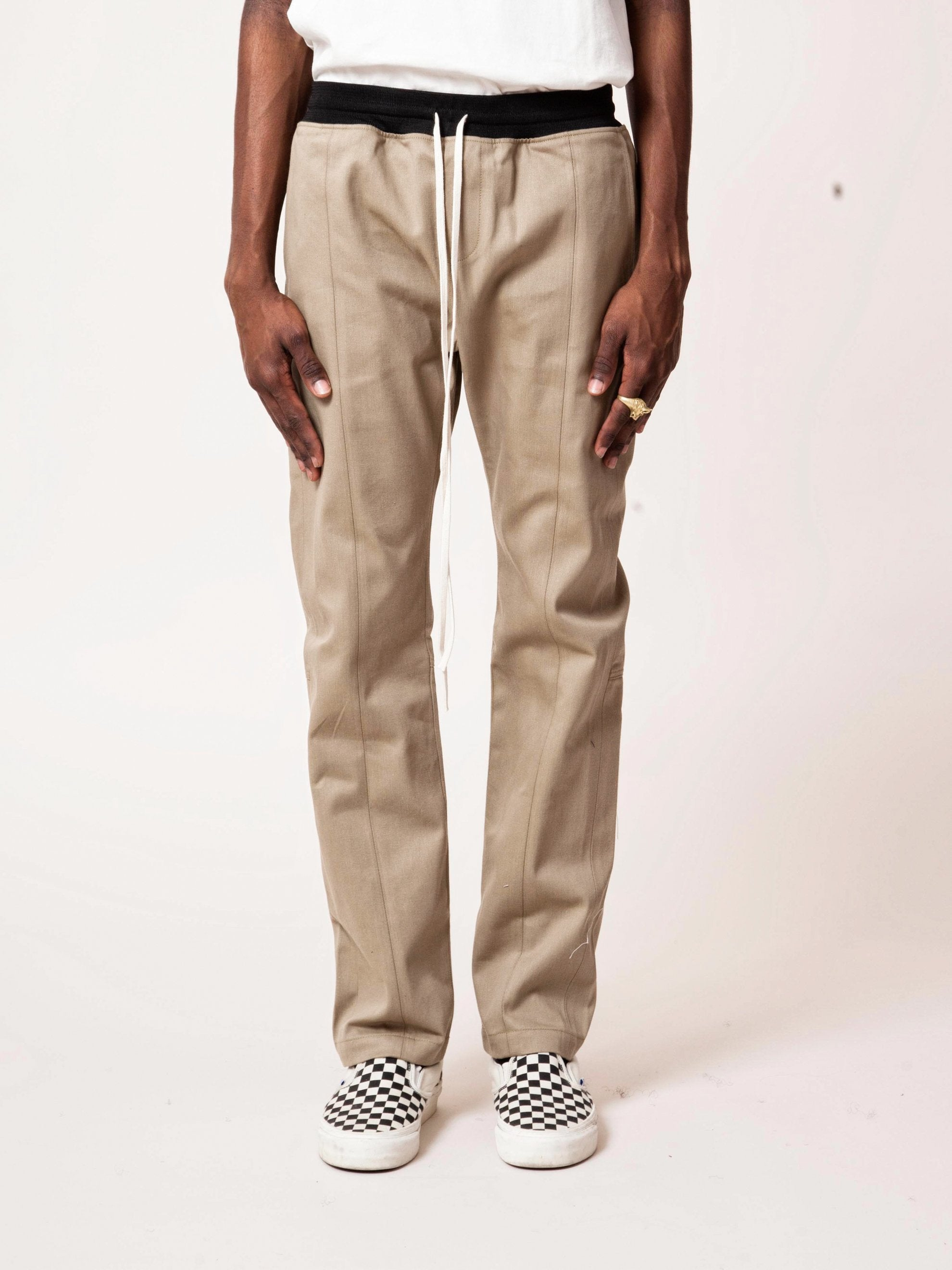 Khaki Selvedge Drawstring Chino Trouser 2