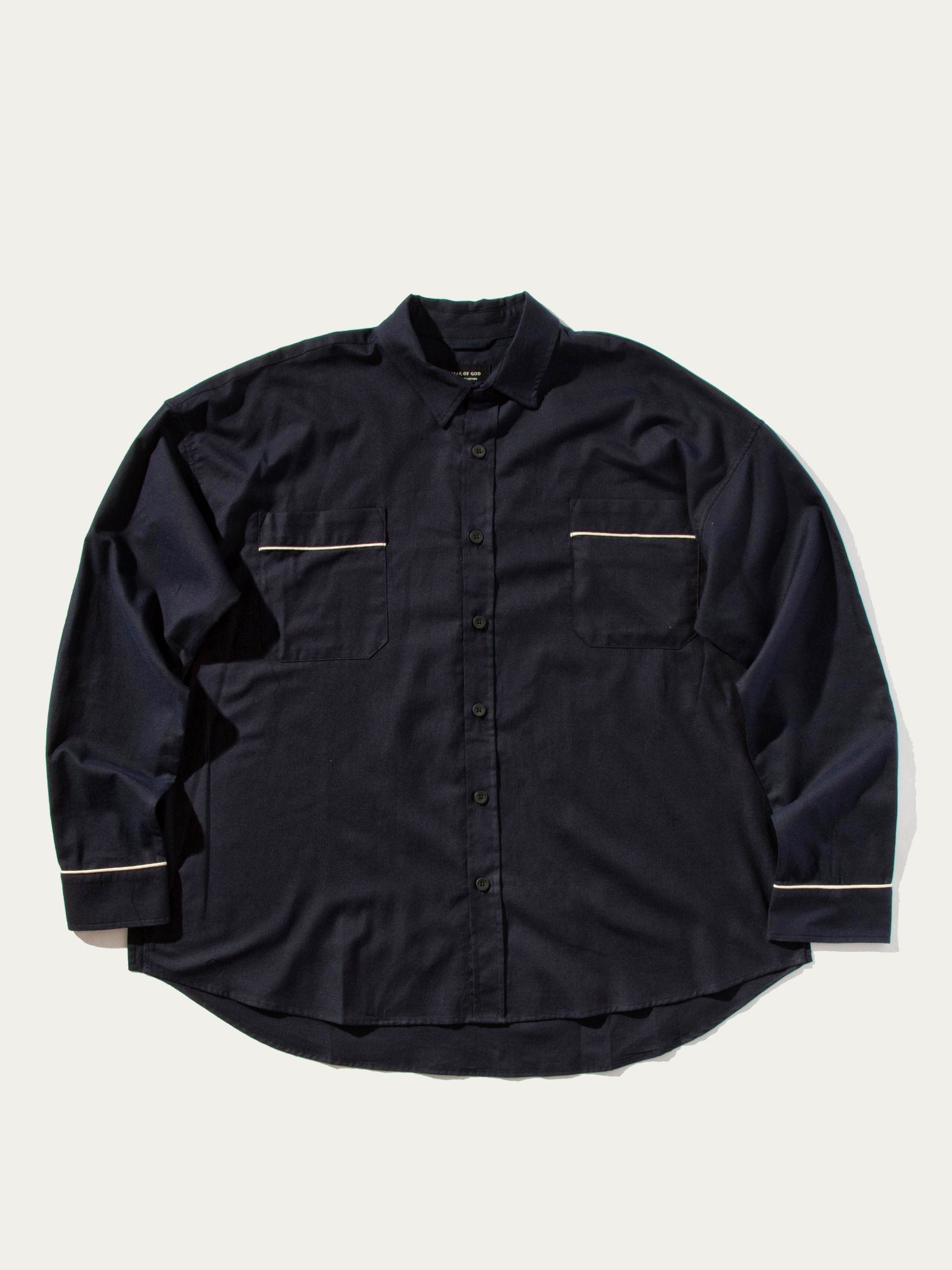 Navy Piped Oversized Shirt 1