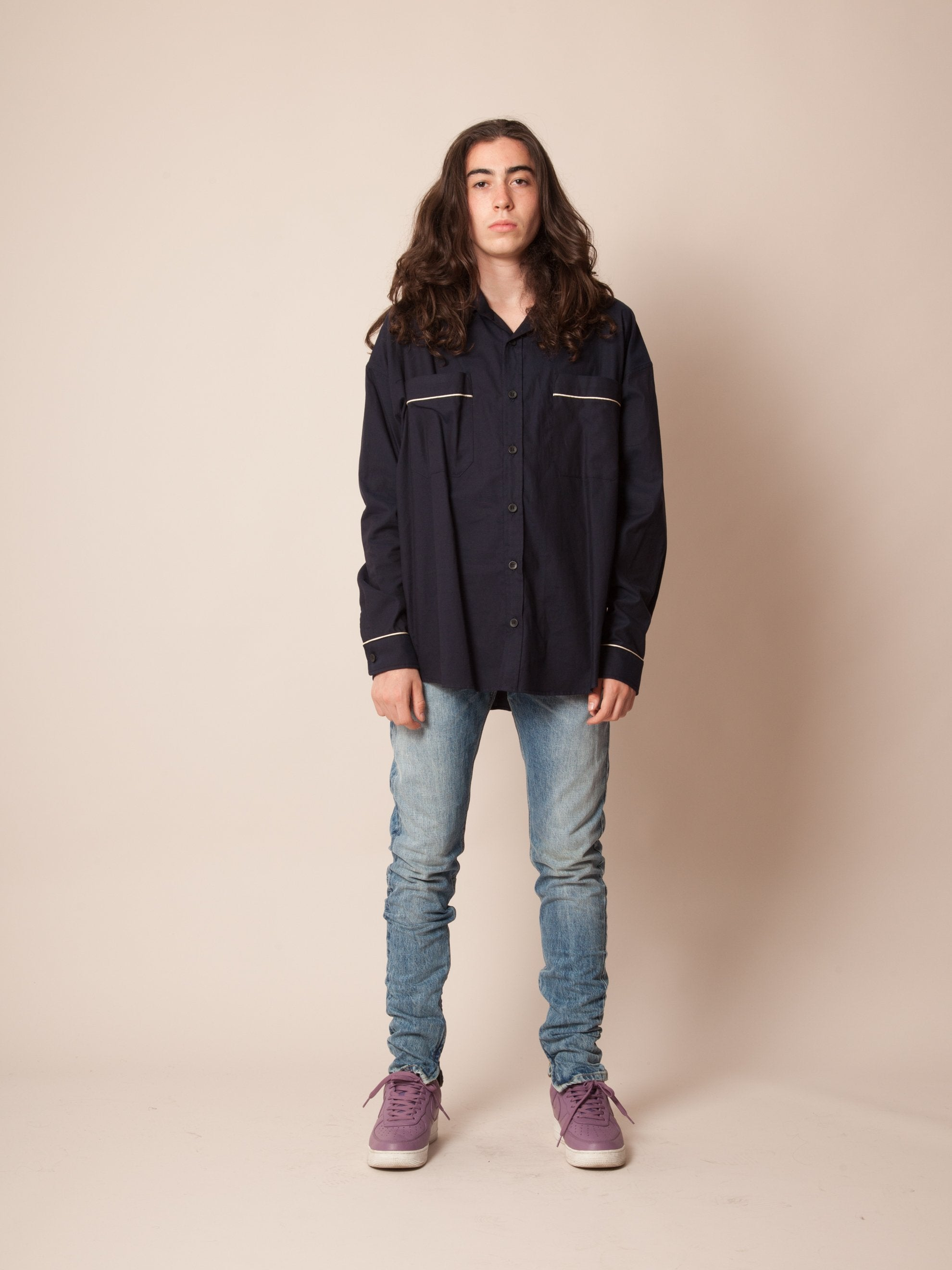 Navy Piped Oversized Shirt 2