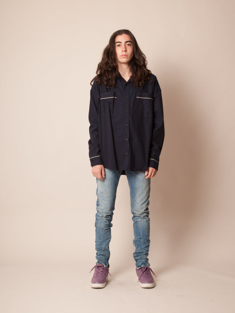 Navy Piped Oversized Shirt 223882342857