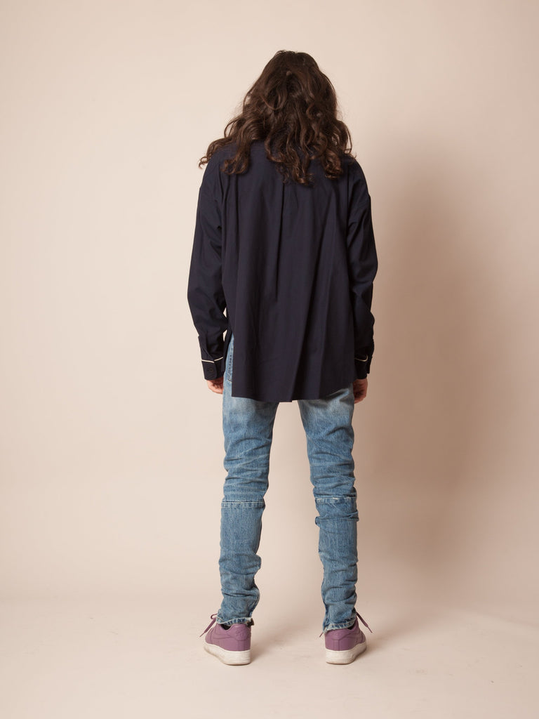 Navy Piped Oversized Shirt 323882342985