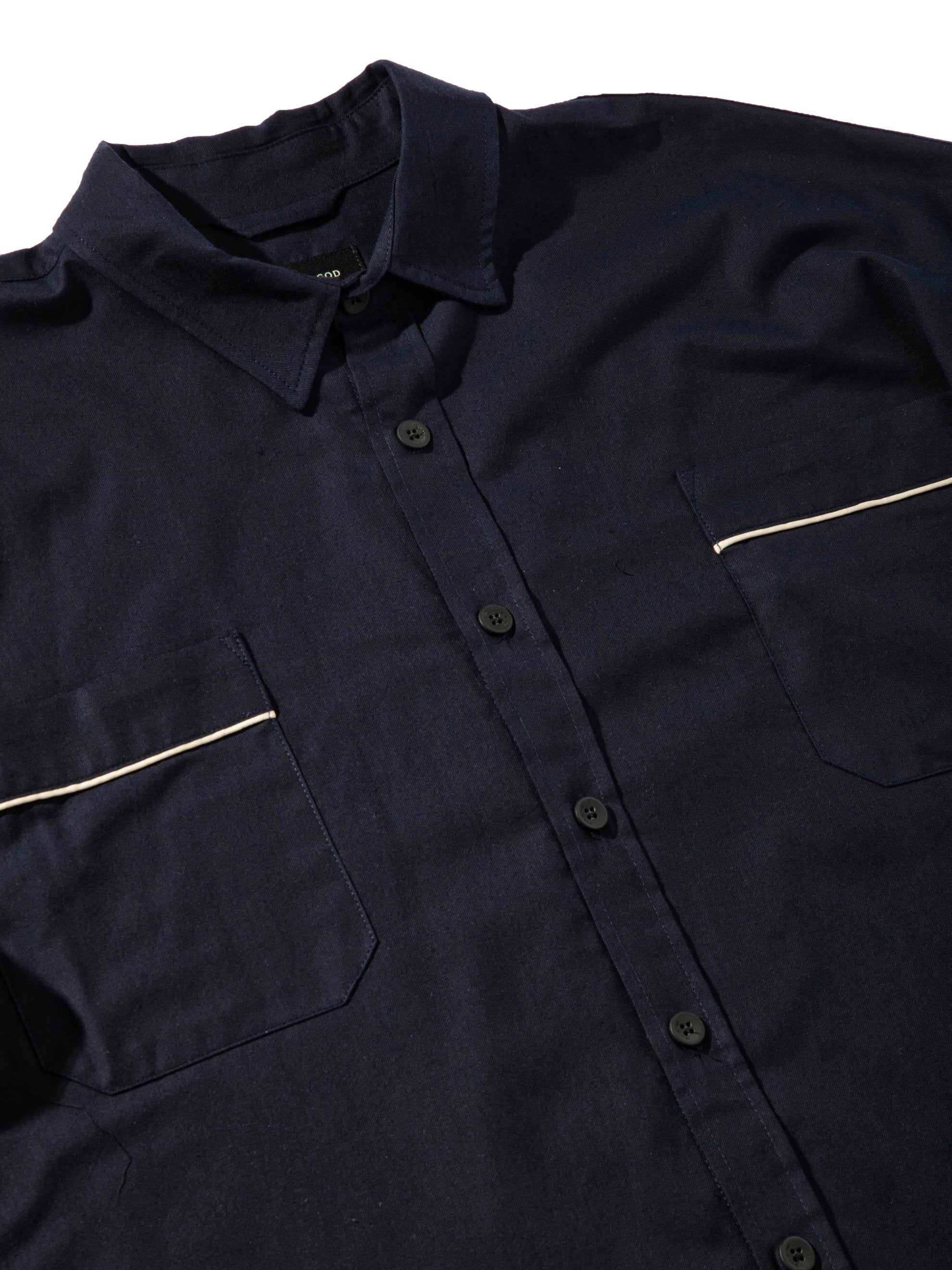 Navy Piped Oversized Shirt 5