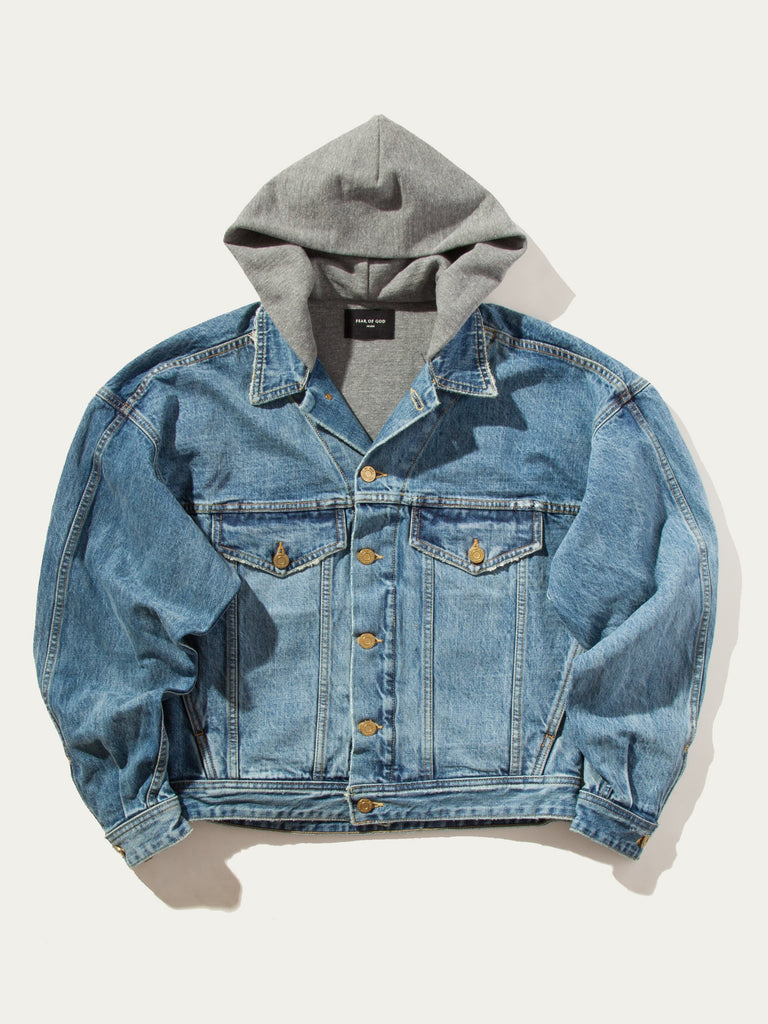 Selvedge Denim Terry Hooded Trucker Jacket