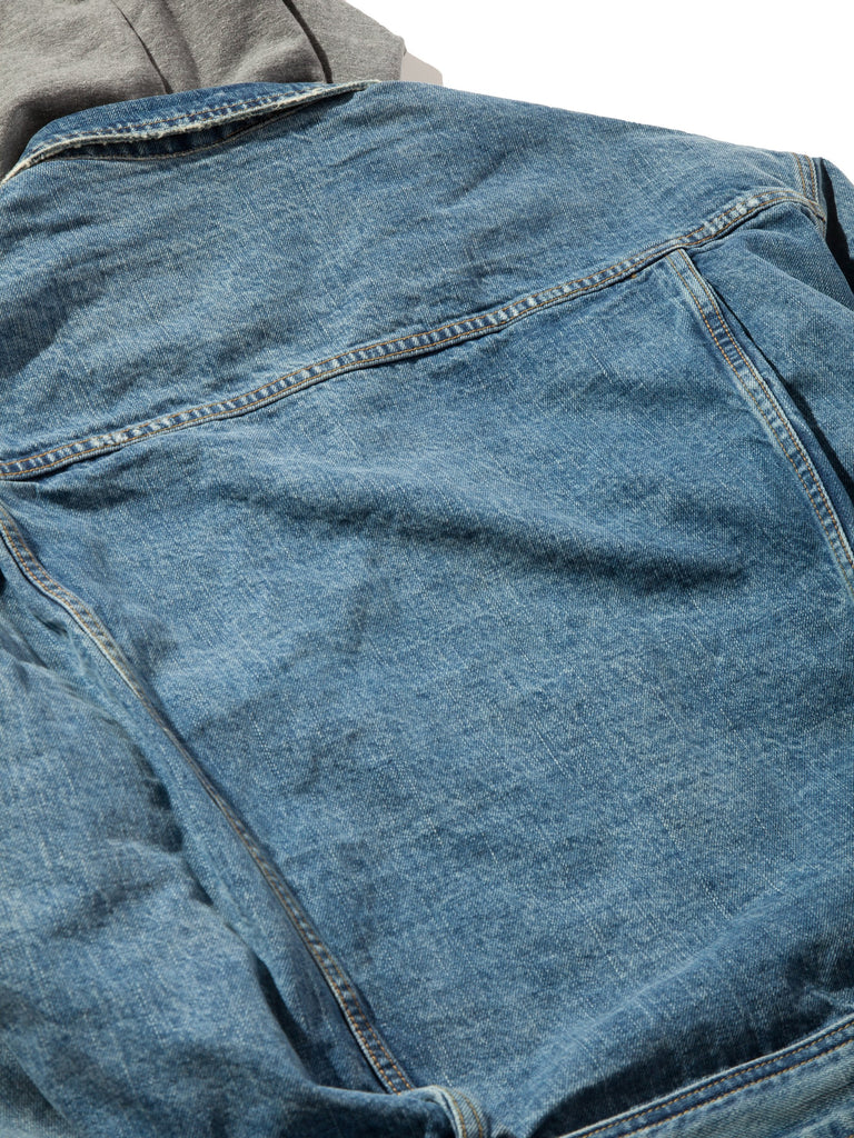 Vintage Indigo Selvedge Denim Terry Hooded Trucker Jacket 822974038153