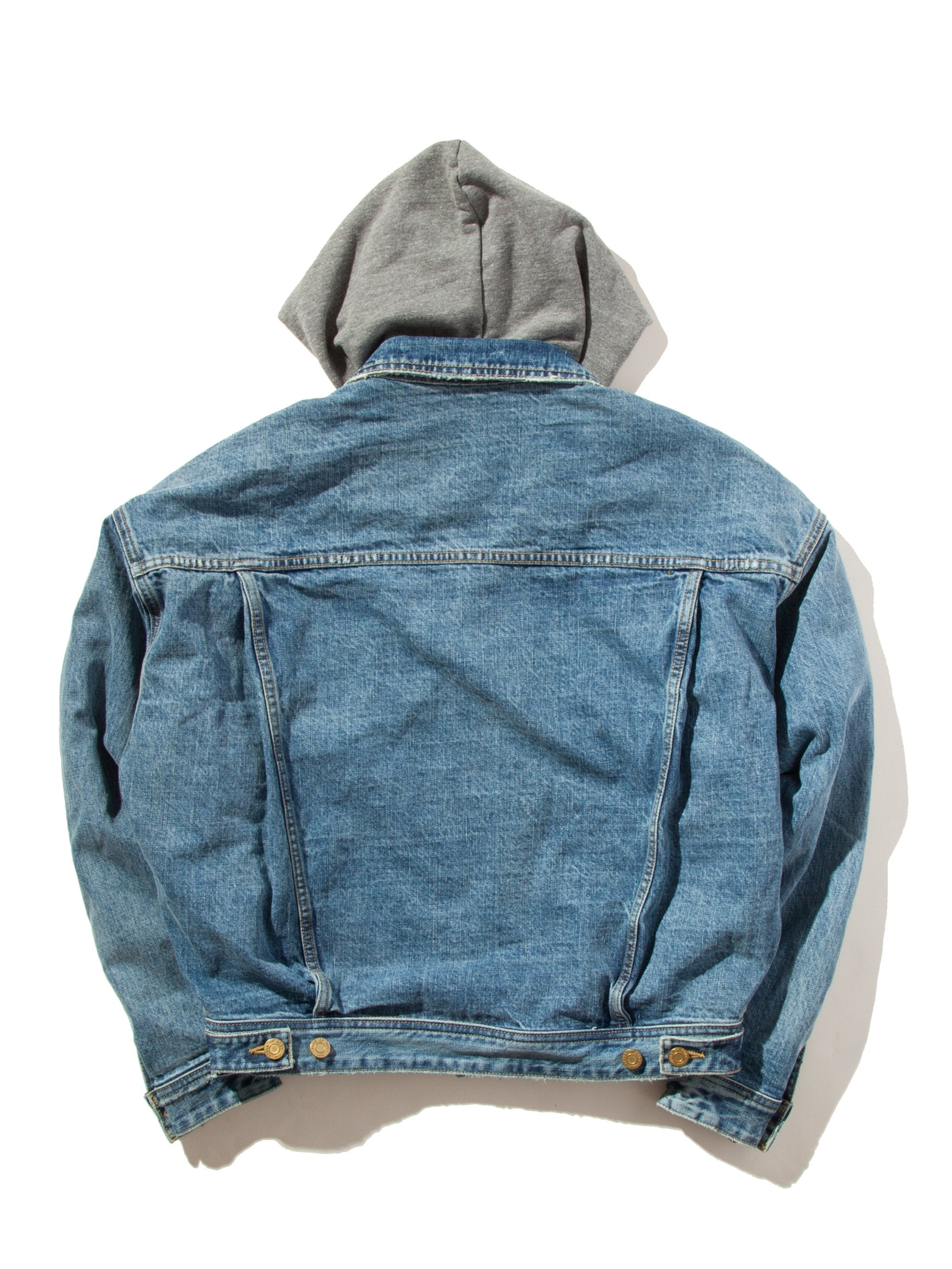 Vintage Indigo Selvedge Denim Terry Hooded Trucker Jacket 10