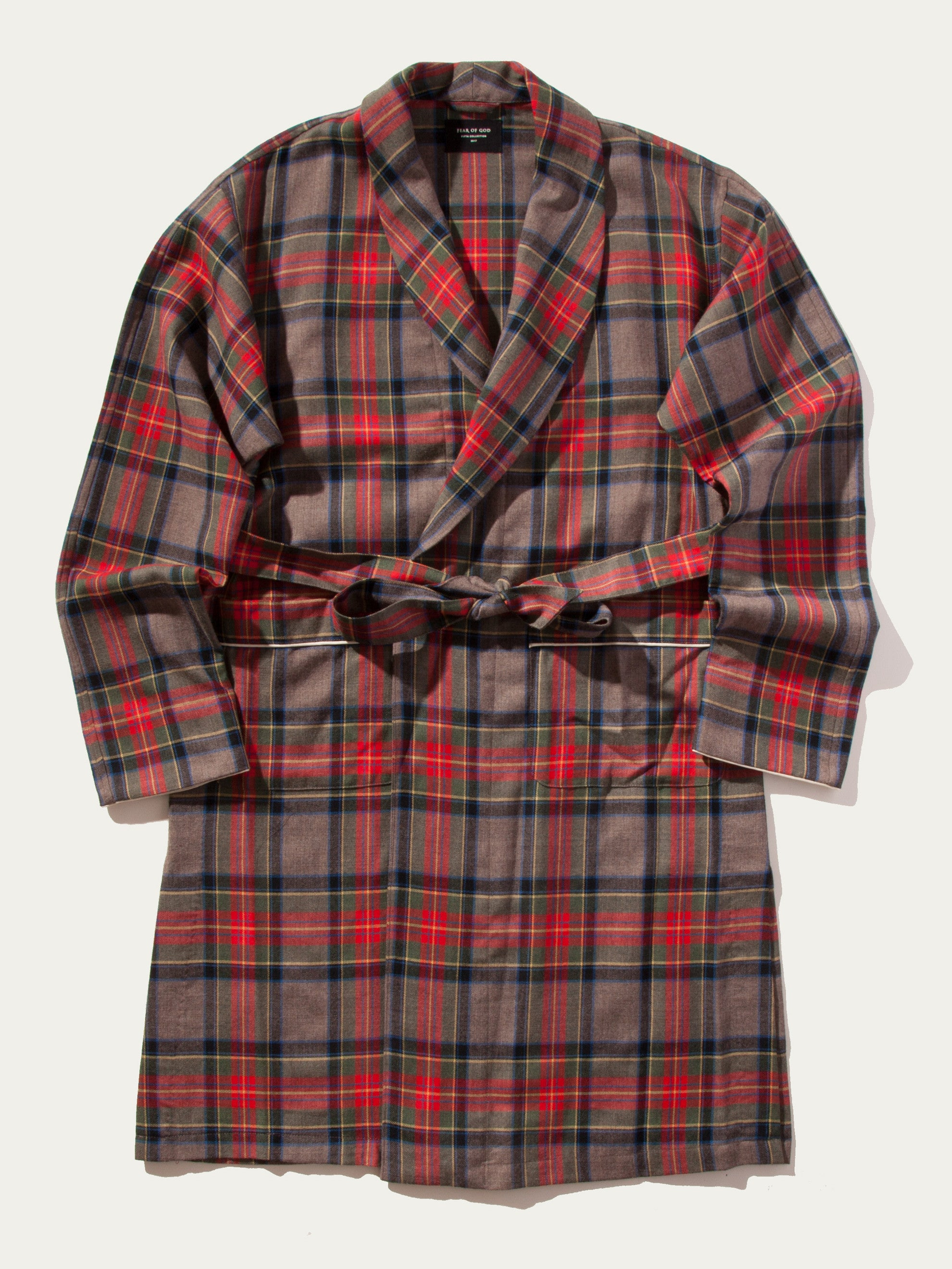 Red/Brown Plaid Wool Robe 1