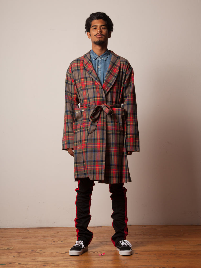 Red/Brown Plaid Wool Robe 222438981065