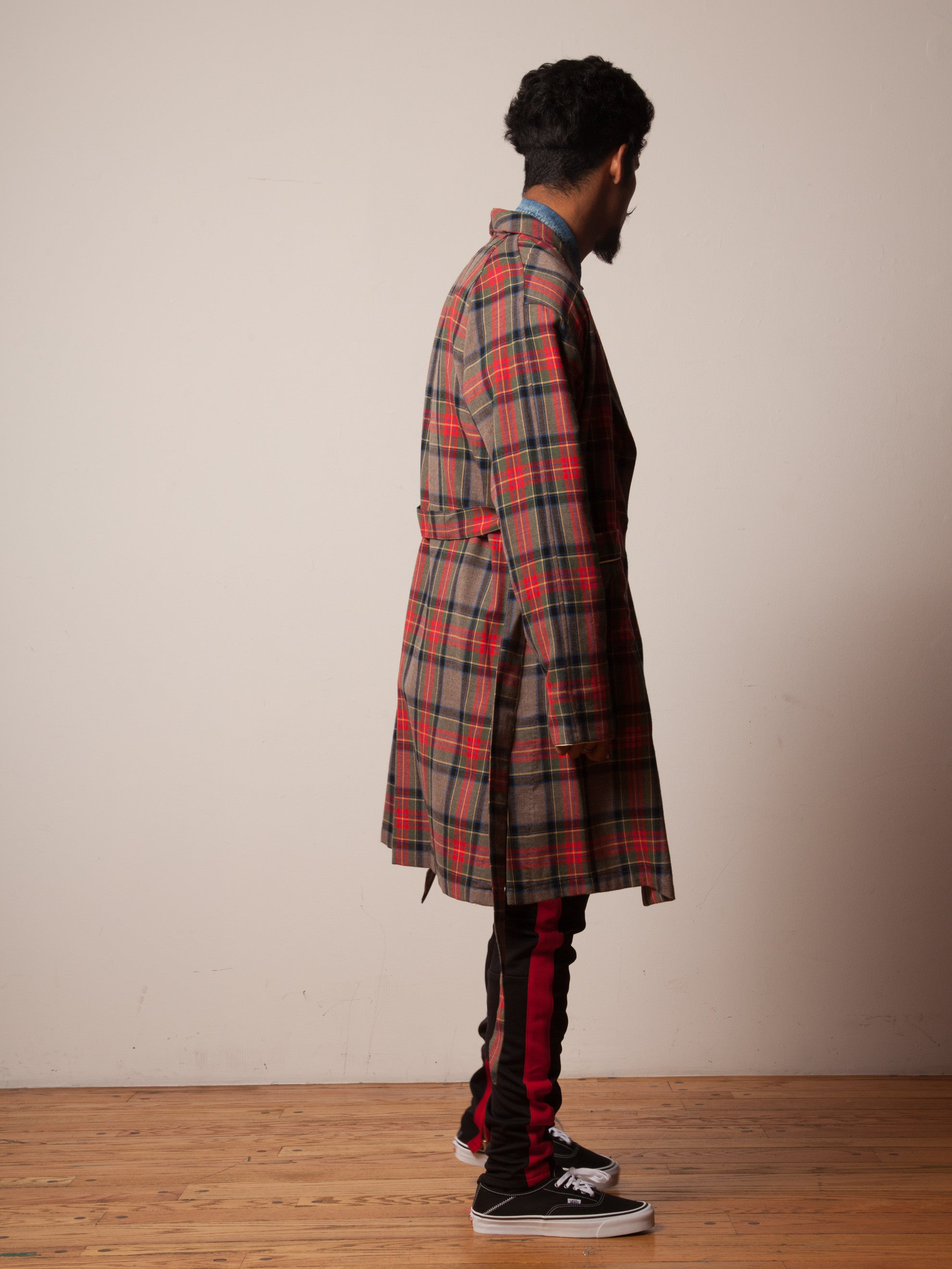 Red/Brown Plaid Wool Robe 3