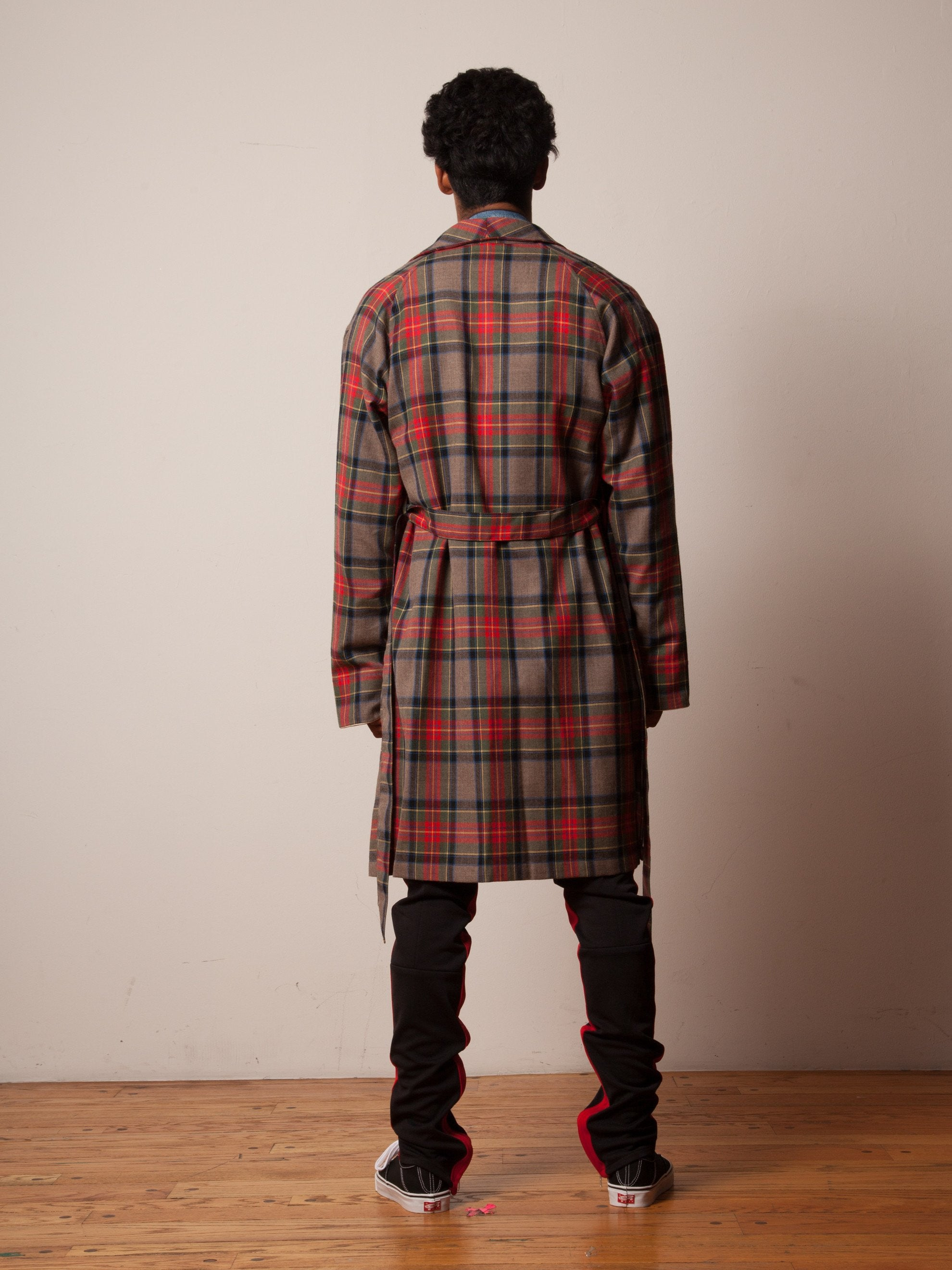 Red/Brown Plaid Wool Robe 4