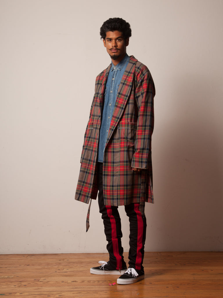 Red/Brown Plaid Wool Robe 522438988169
