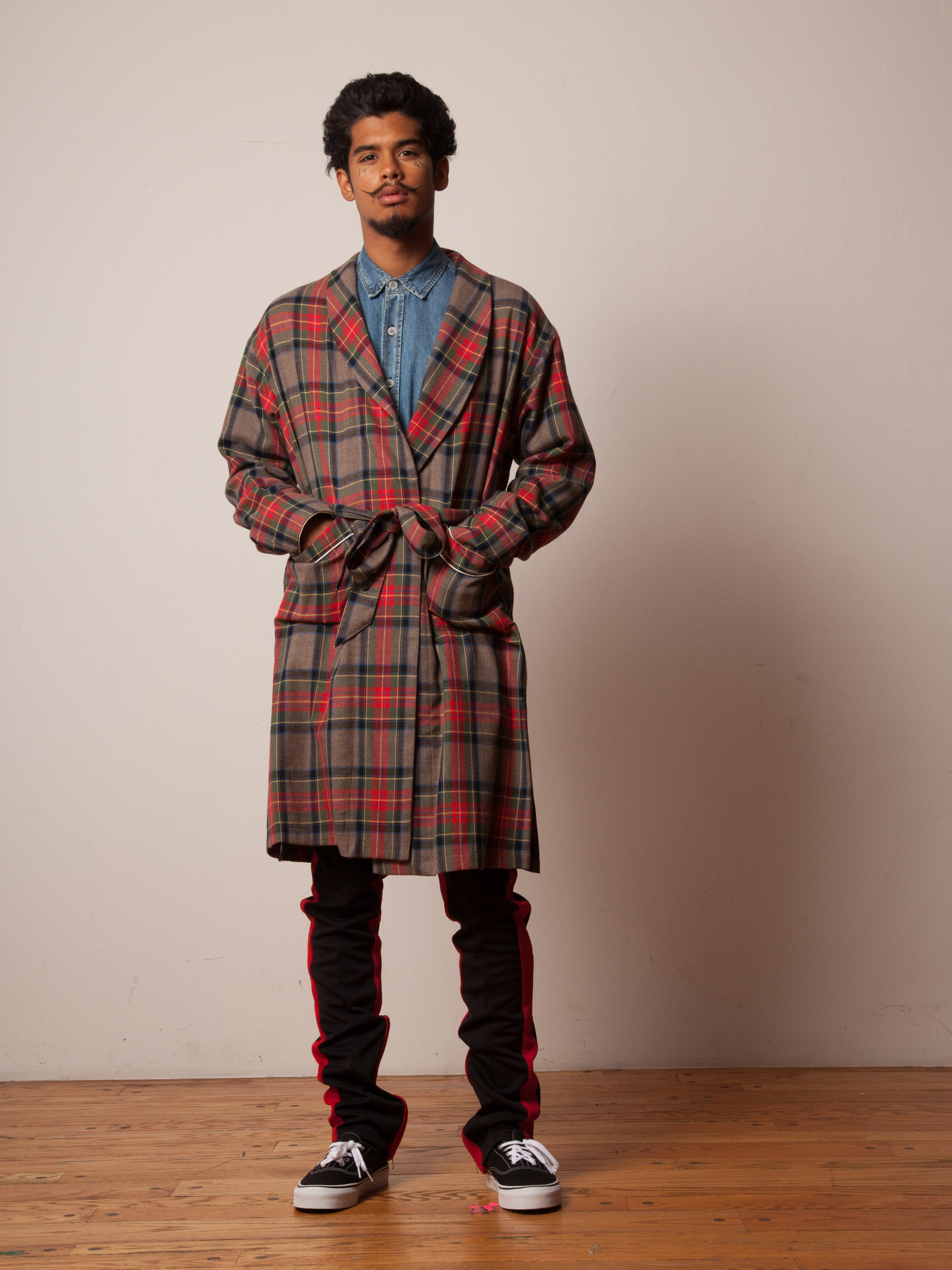 Red/Brown Plaid Wool Robe 6
