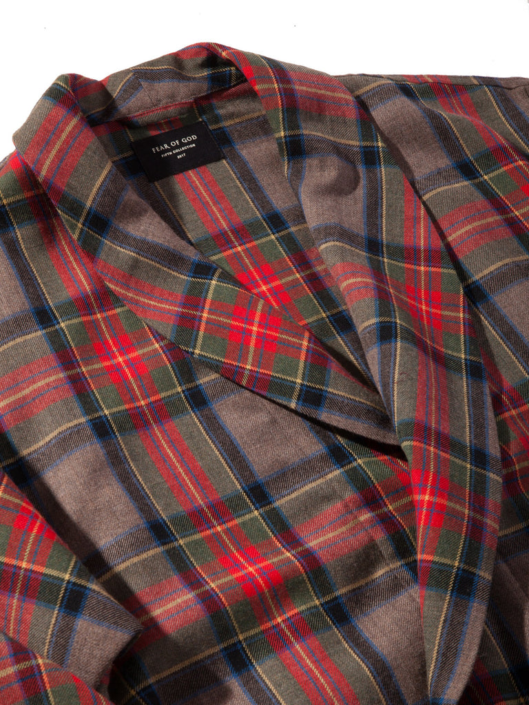 Red/Brown Plaid Wool Robe 722438993673