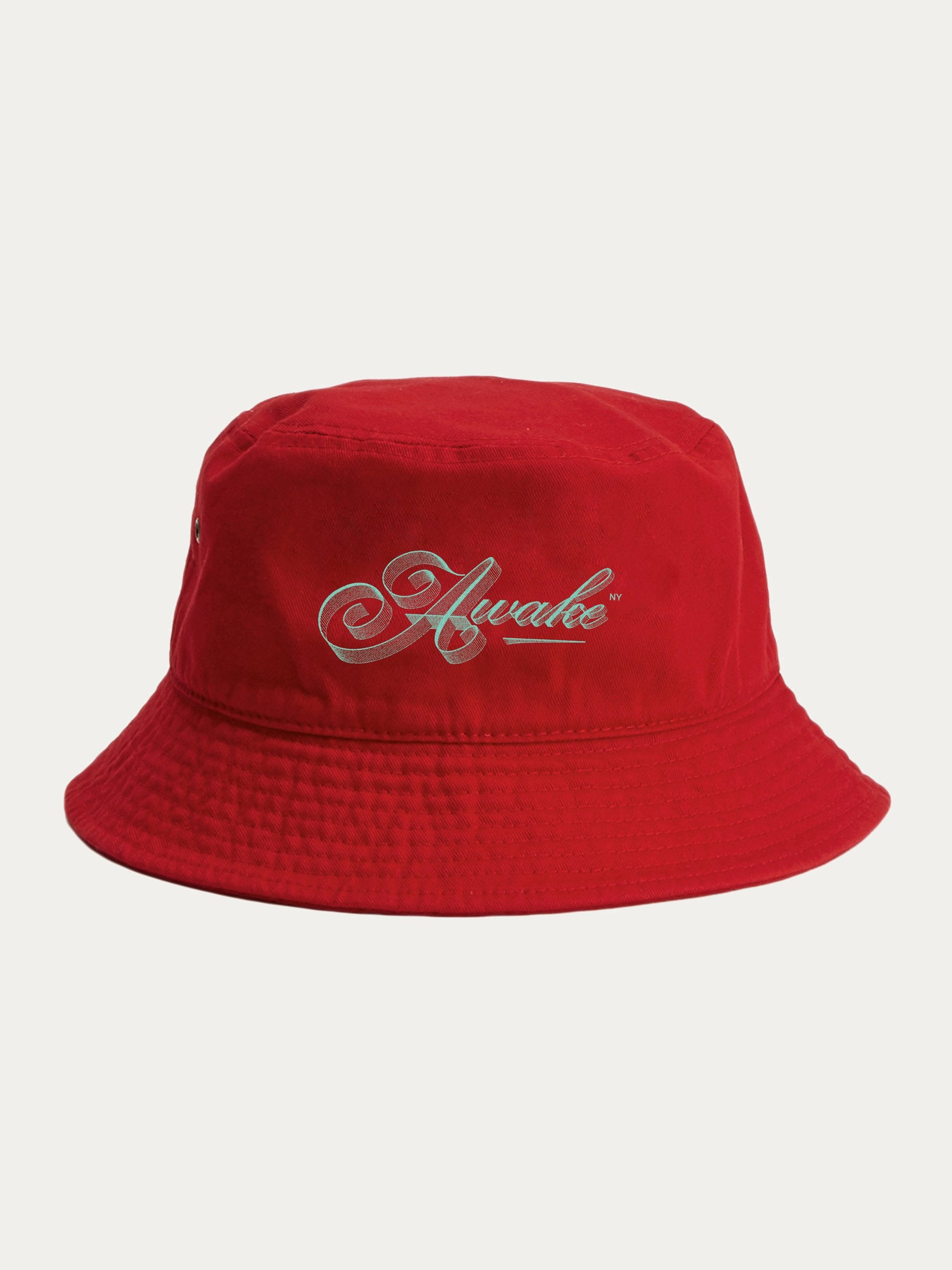 Red Ribbon Script Logo Bucket Hat 1