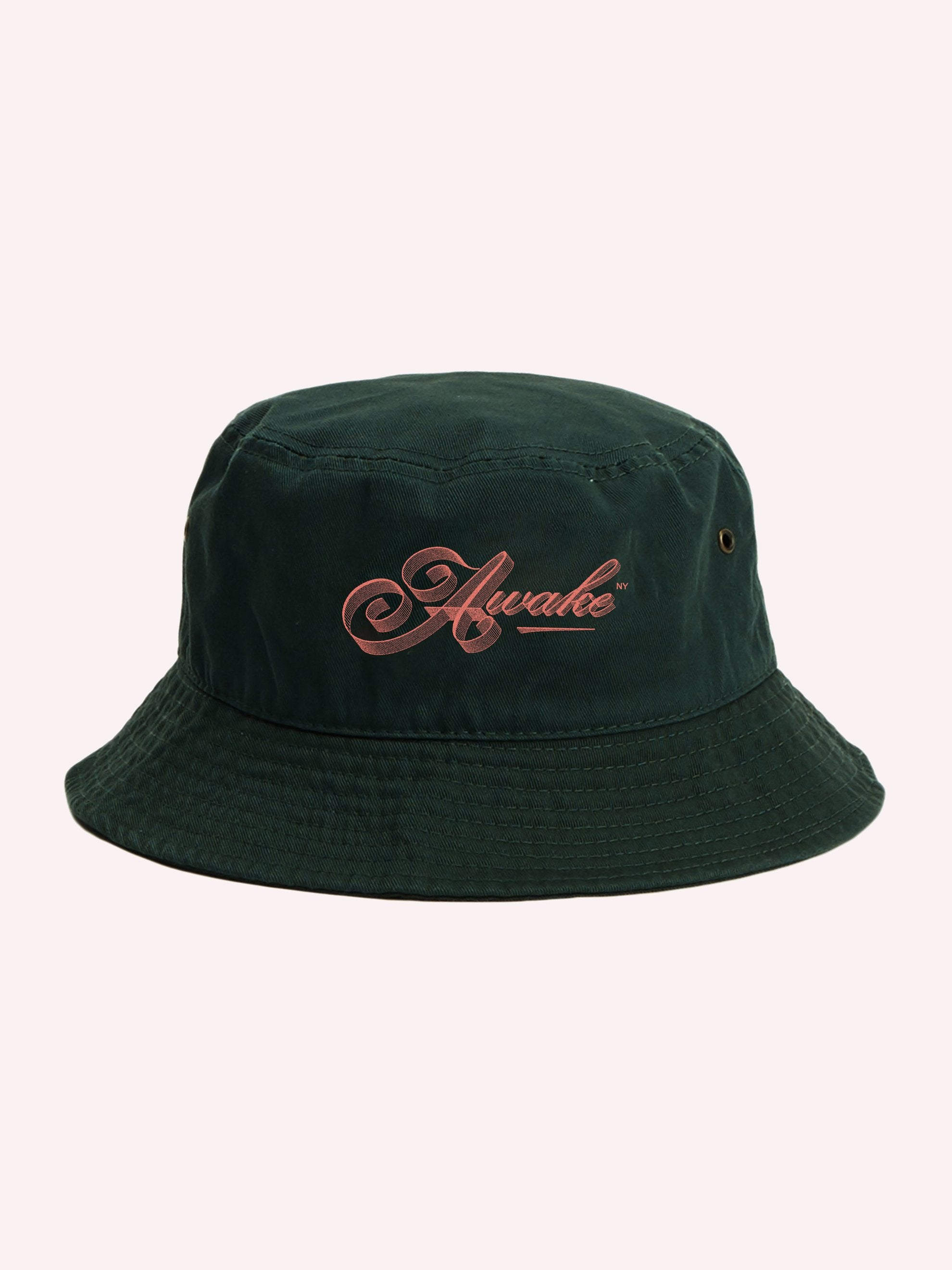 Dark Green Ribbon Script Logo Bucket Hat 1