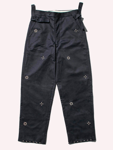 Navy Studded Side-Tie Trouser