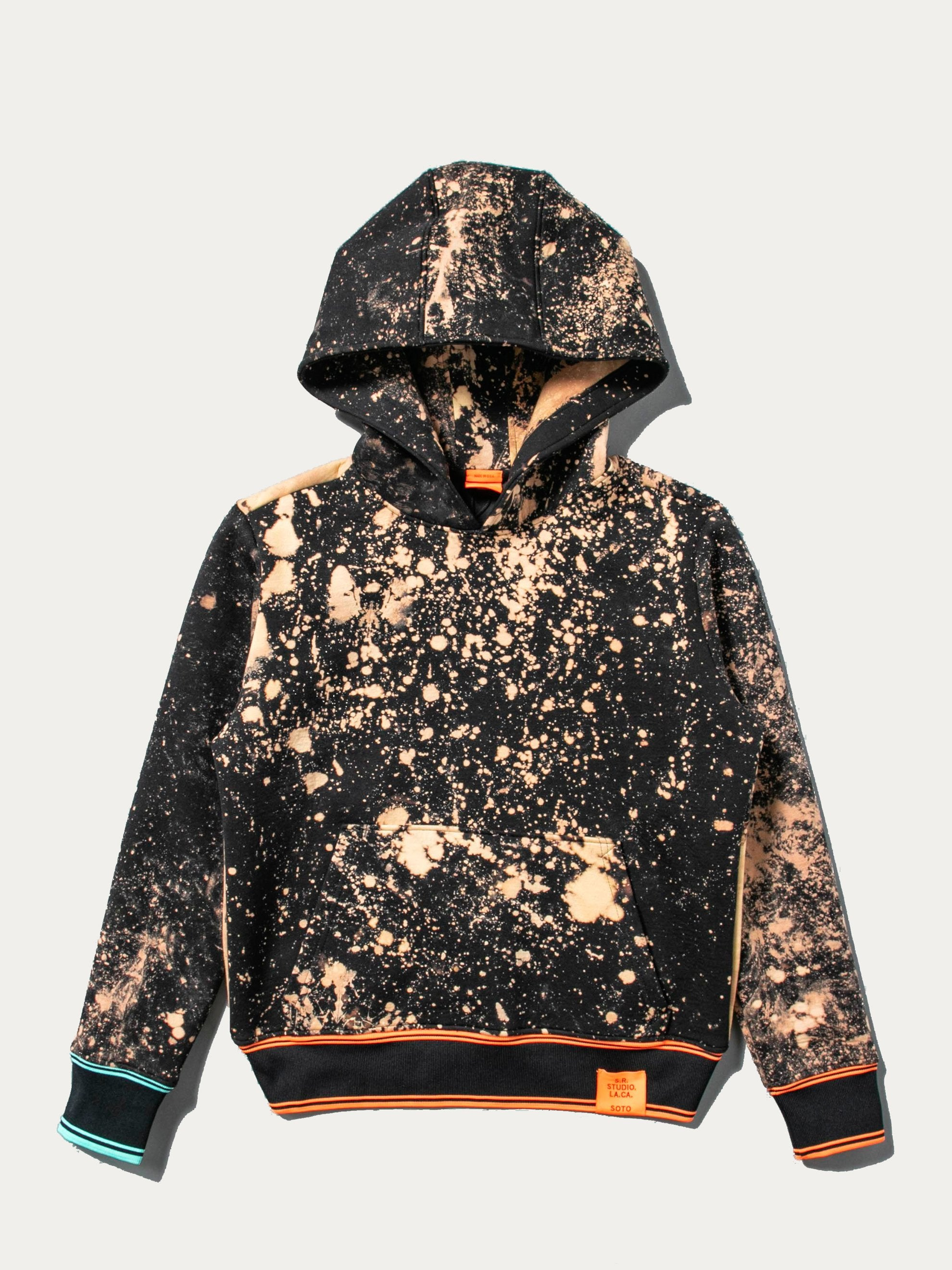 Hand-Bleached Sepia Soto Slanted Pullover Hoodie With Multi Rib