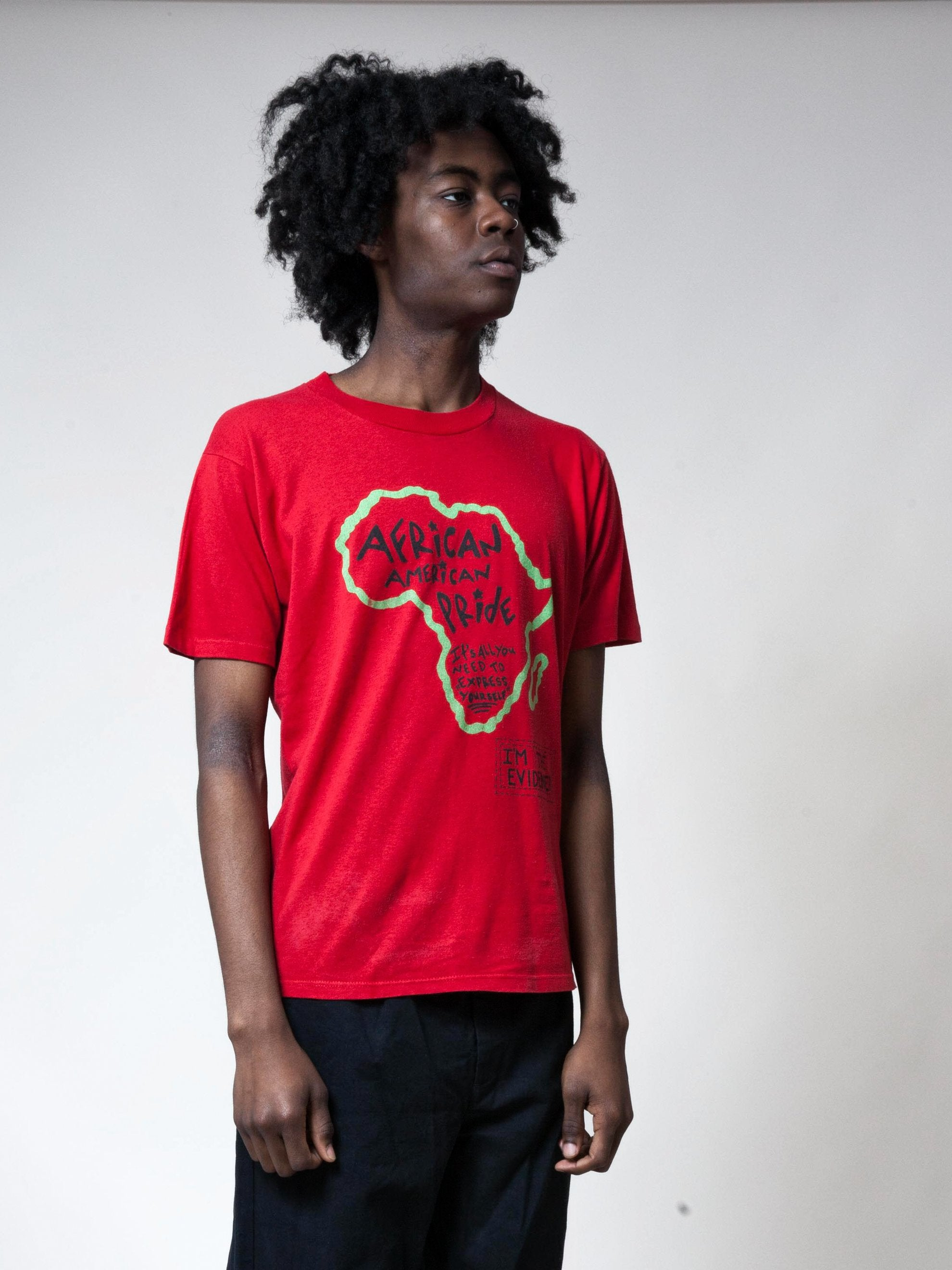 Red 1990's African American Pride T-Shirt 4