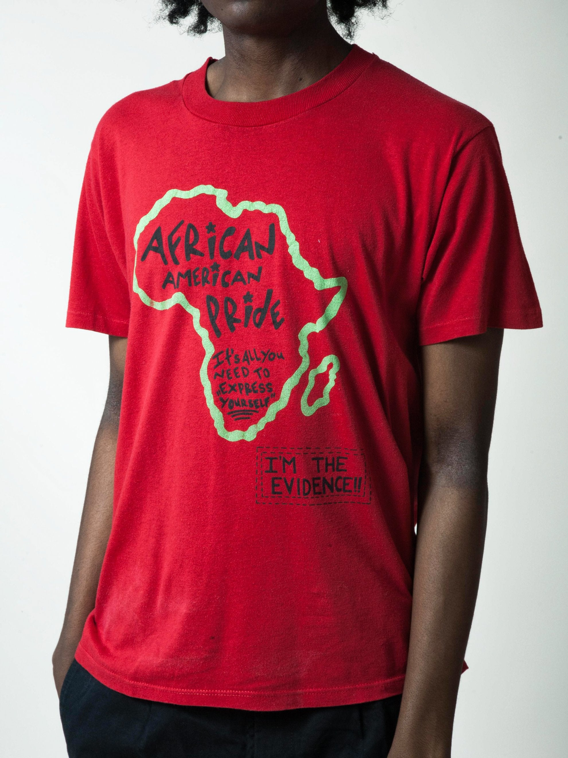 Red 1990's African American Pride T-Shirt 6