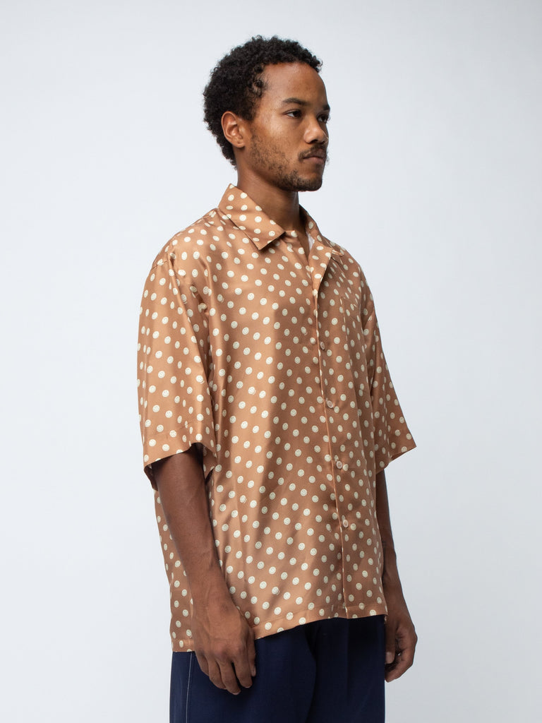 Beige Camp Collar Smiley Shirt 215792523149389