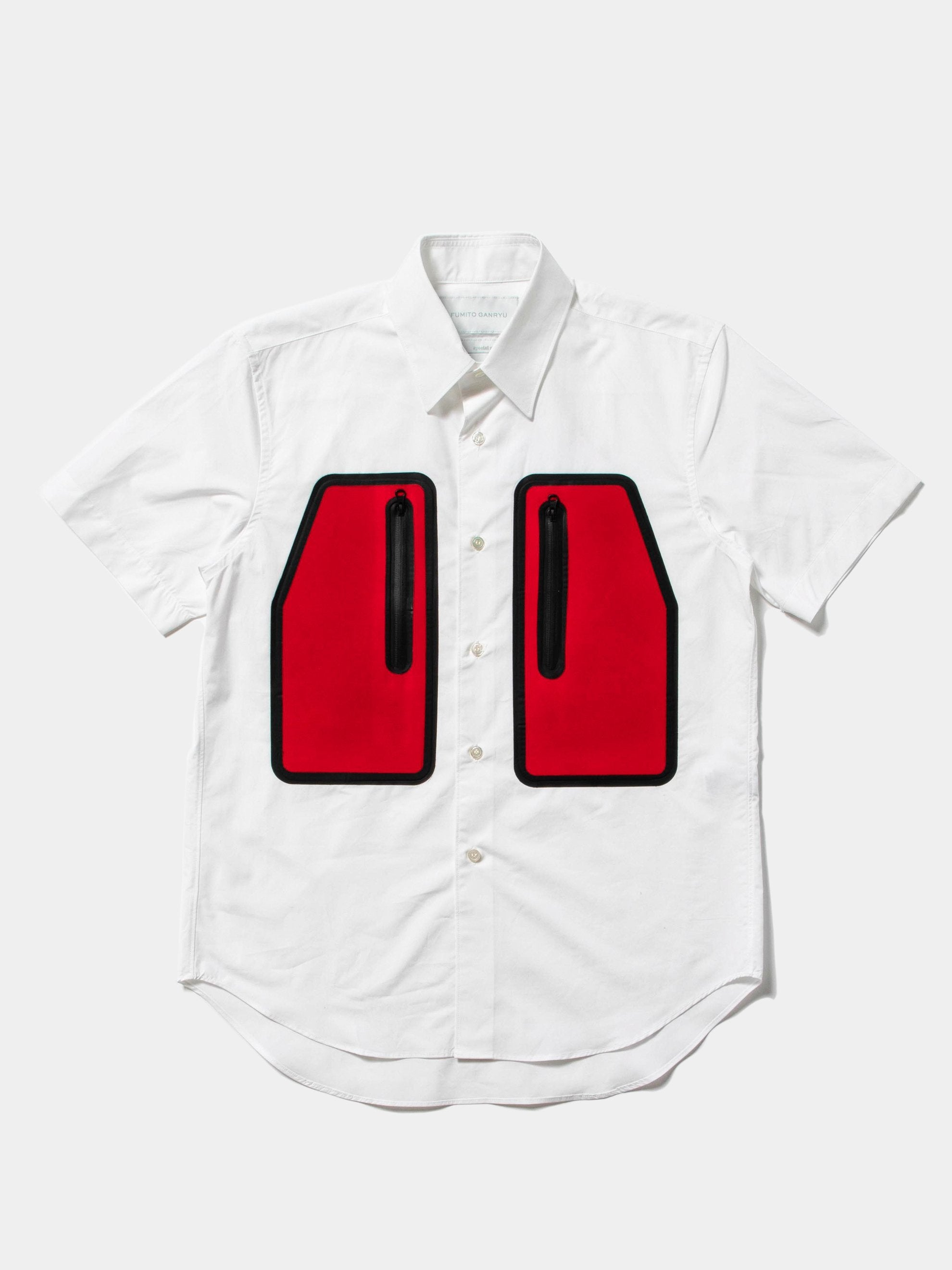 White/Red Water Resistant Pocket Shirt 1