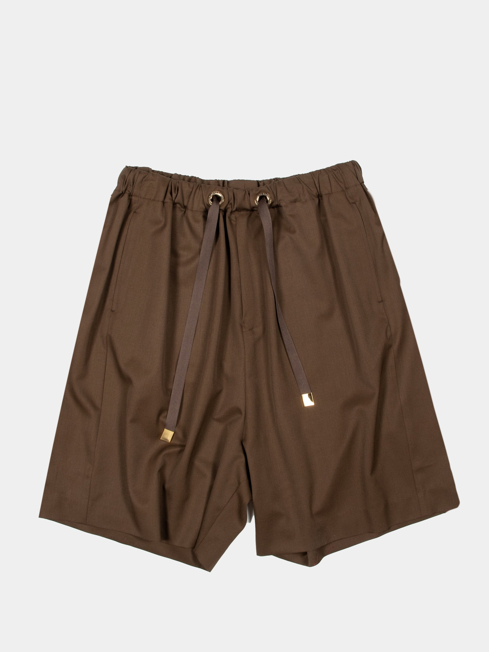 Brown Wool Woven Shorts 1