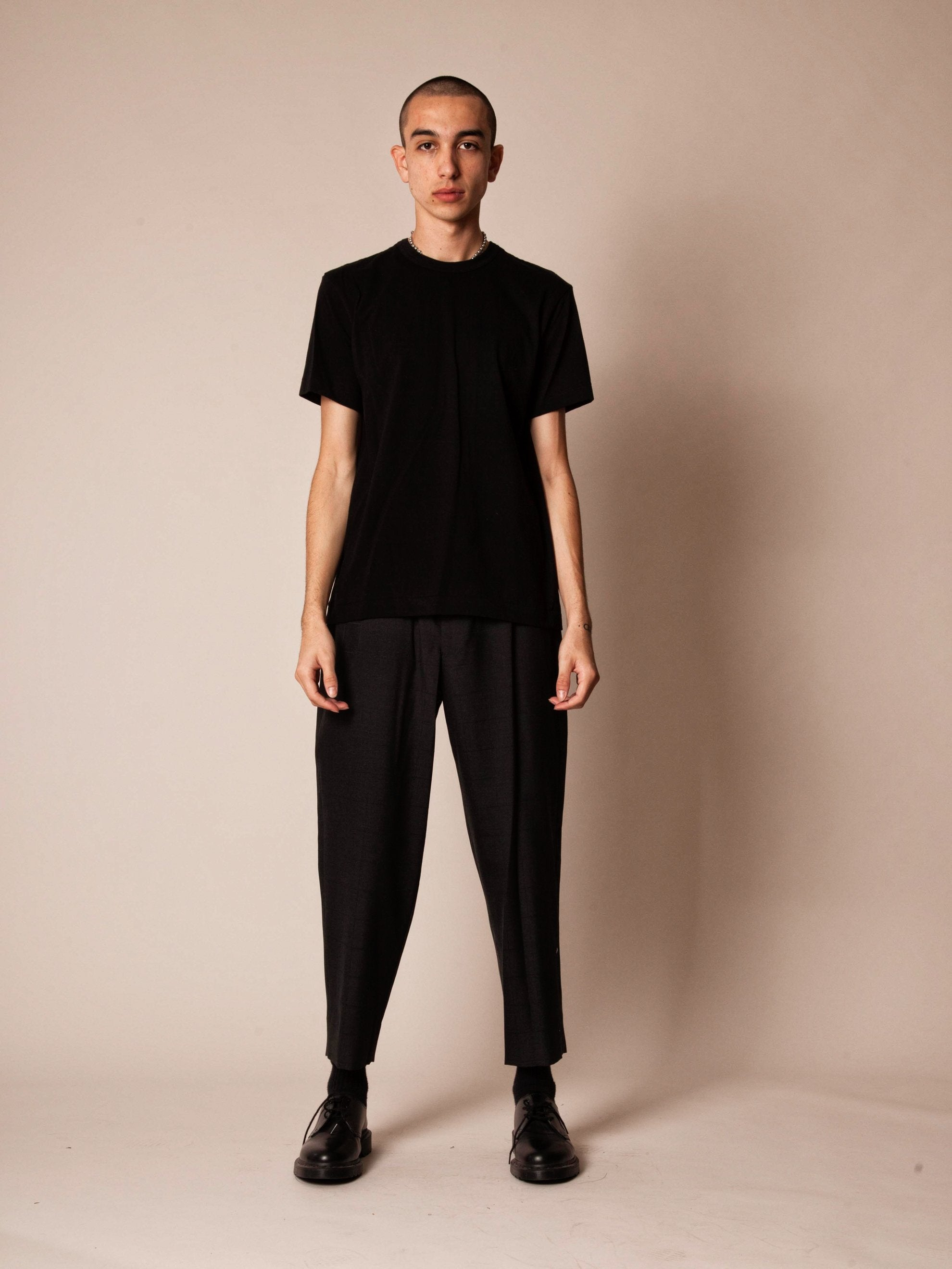 Charcoal Cropped Grid Trouser 2