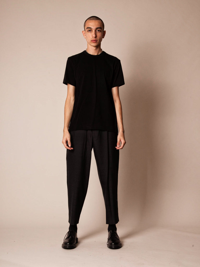Charcoal Cropped Grid Trouser 224215903241